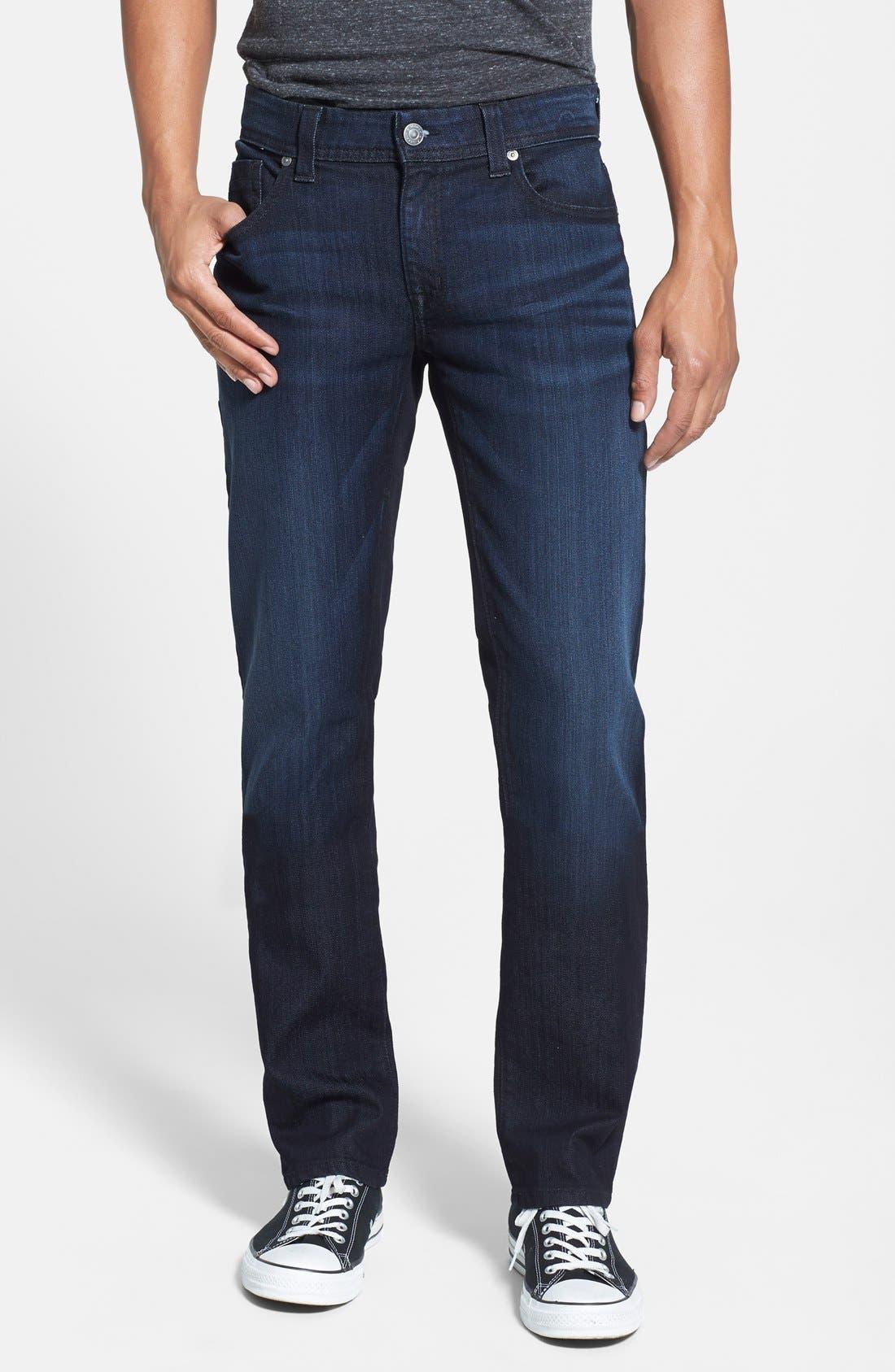 Alternate Image 1 Selected - Fidelity Denim 'Jimmy' Slim Straight Leg Jeans (Blue/Black)