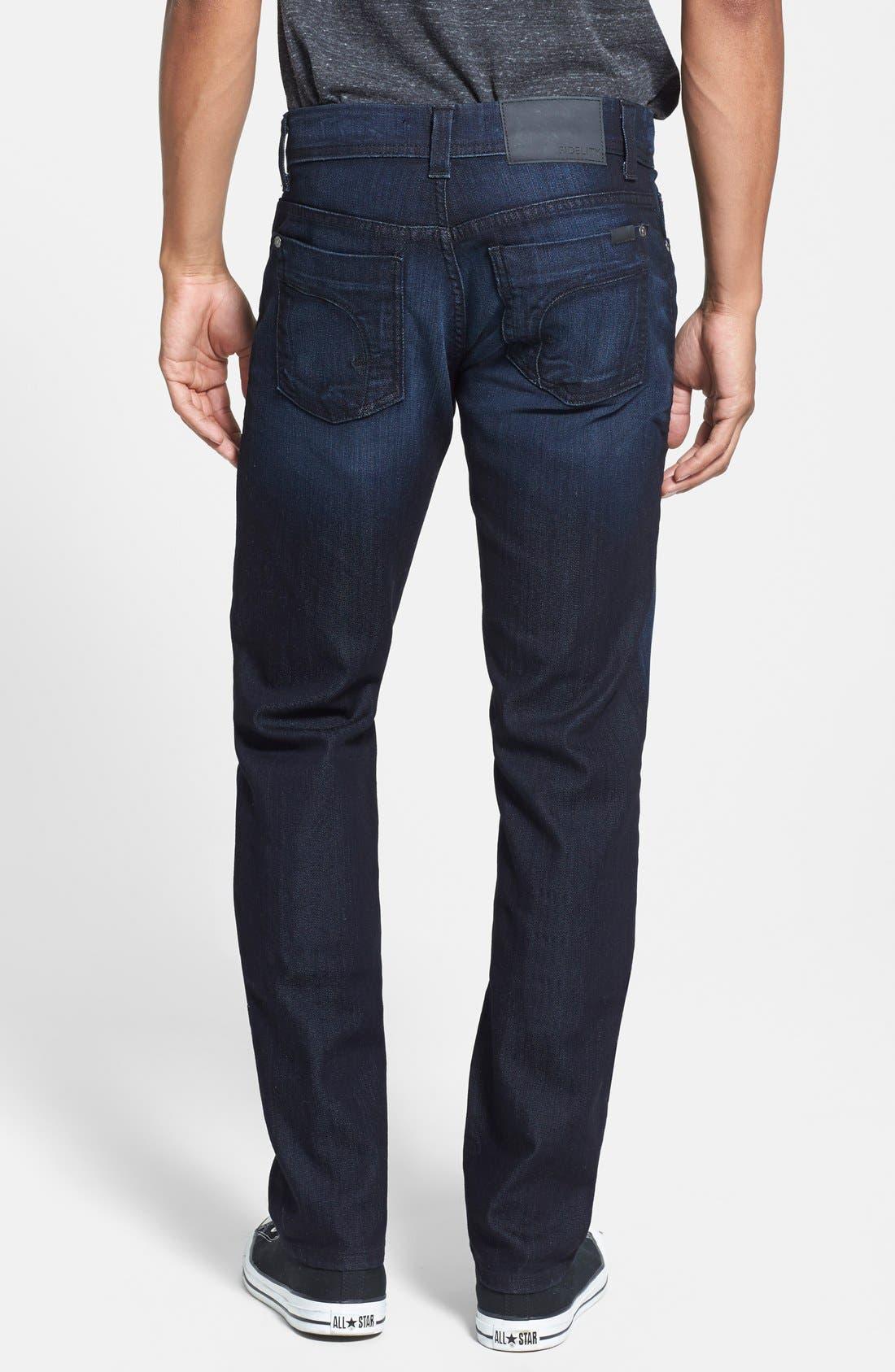 Alternate Image 2  - Fidelity Denim 'Jimmy' Slim Straight Leg Jeans (Blue/Black)