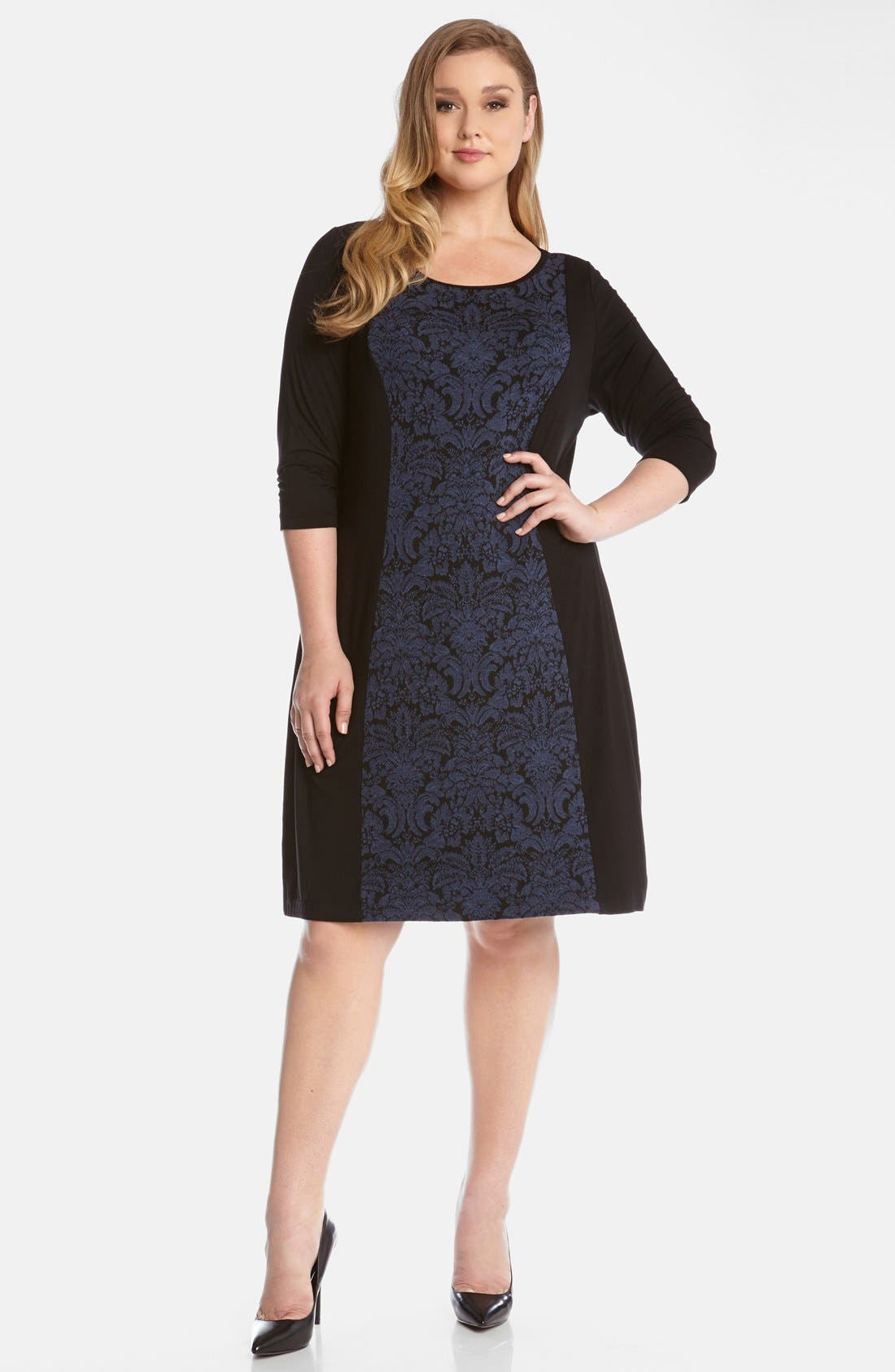 Alternate Image 1 Selected - Karen Kane Jacquard Panel Jersey Shift Dress (Plus Size)
