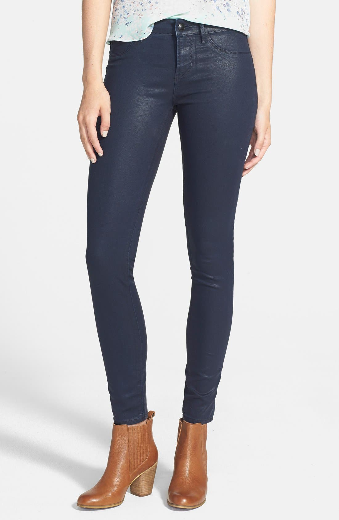 Alternate Image 1 Selected - Articles of Society 'Mya' Coated Skinny Jeans (Dark Blue)