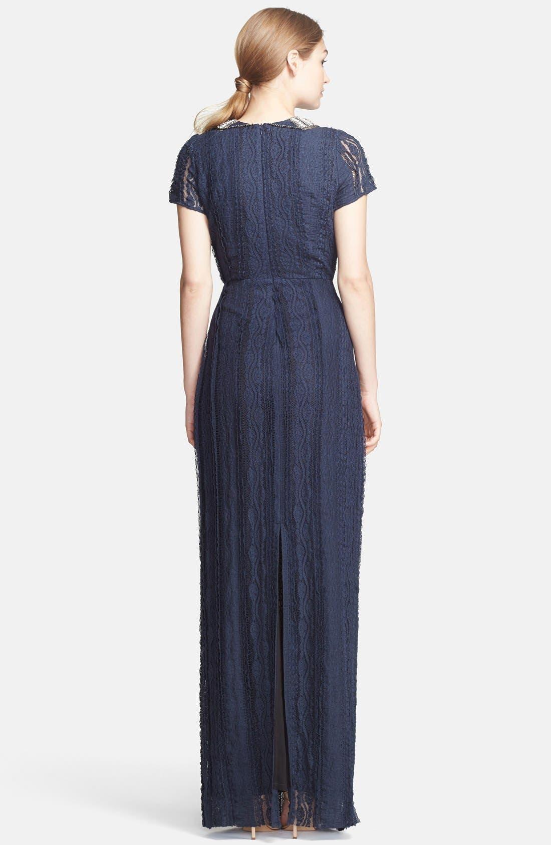 Alternate Image 2  - Korovilas 'Georgia' Encrusted Neck Lace Maxi Dress