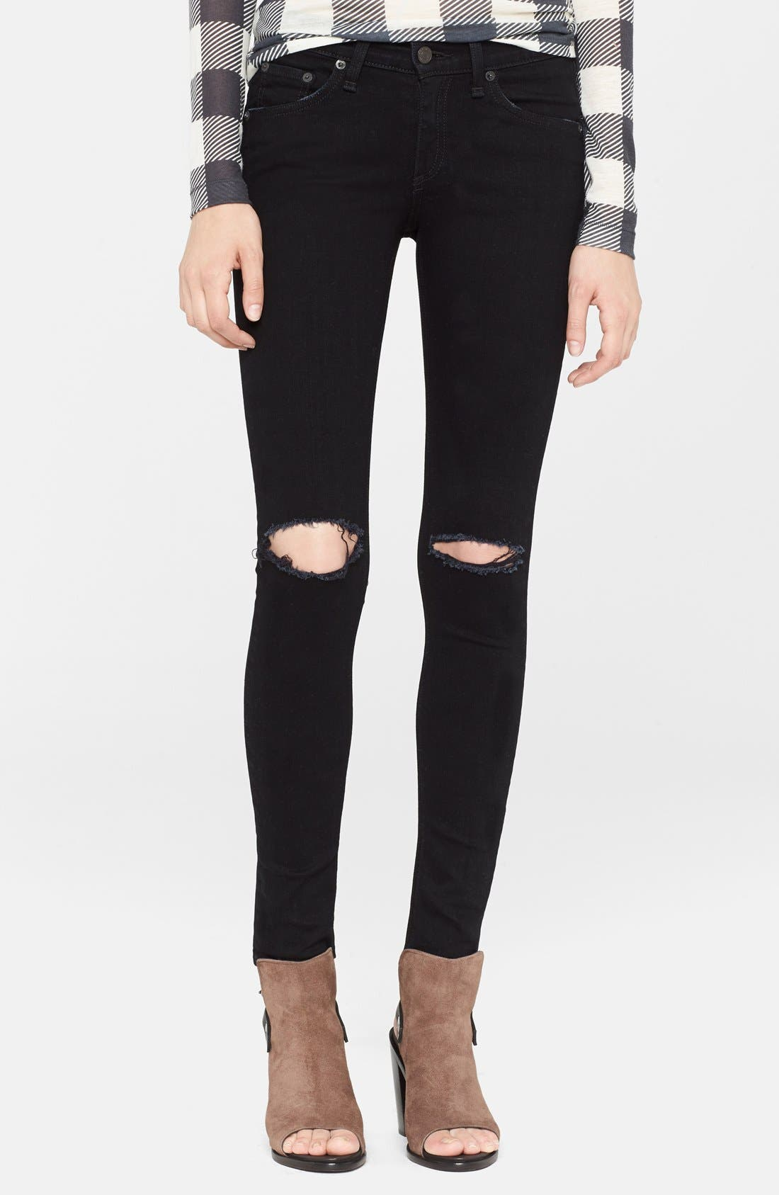Alternate Image 1  - rag & bone/JEAN 'The Skinny' Stretch Jeans (Coal With Holes)