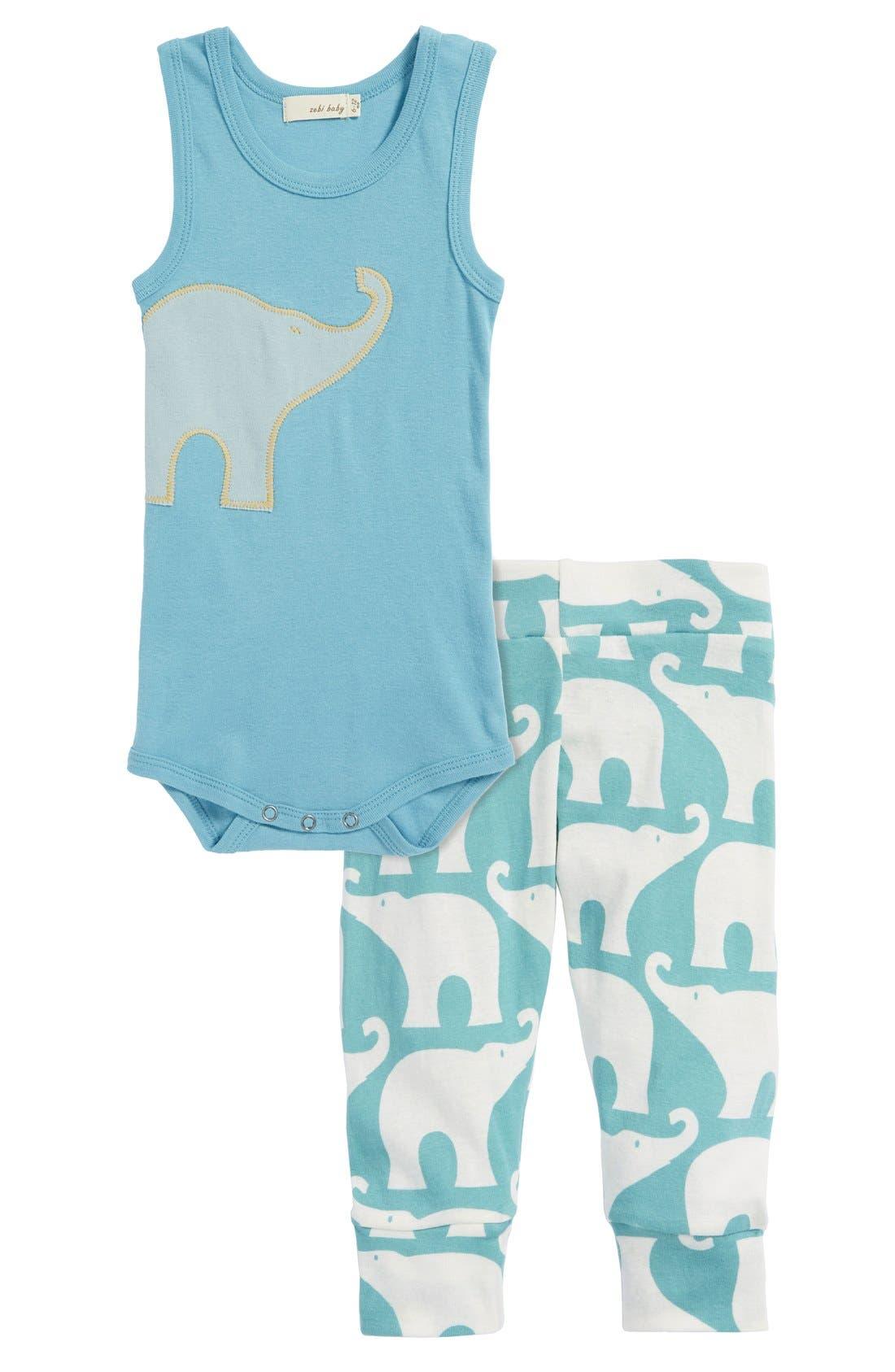 Alternate Image 2  - Zebi Baby 'Elephant' Organic Cotton Bodysuit (Baby Boys)