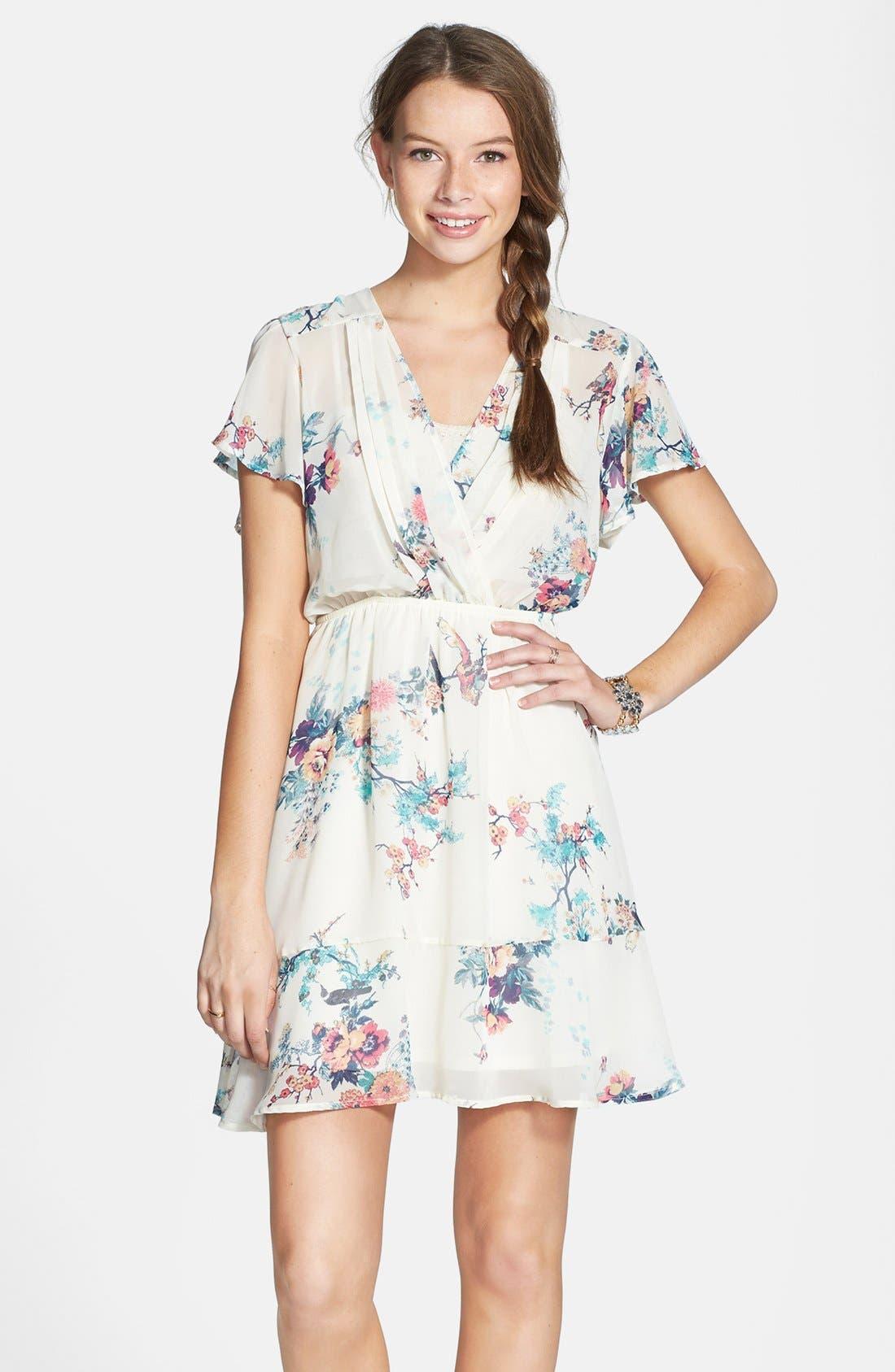 Main Image - BP. Surplice Flutter Sleeve Babydoll Dress