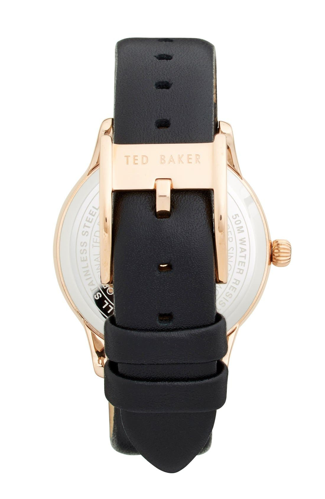 Alternate Image 2  - Ted Baker London 'Vintage Glam' Crystal Bezel Leather Strap Watch, 34mm