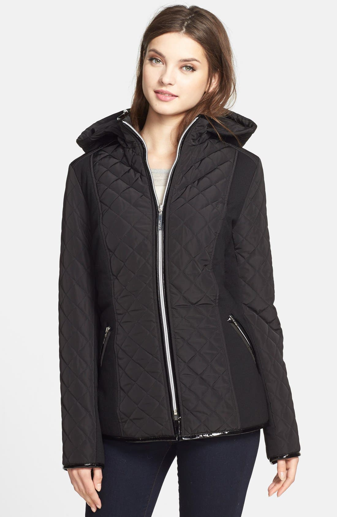Main Image - kensie Diamond Quilted Jacket (Online Only)