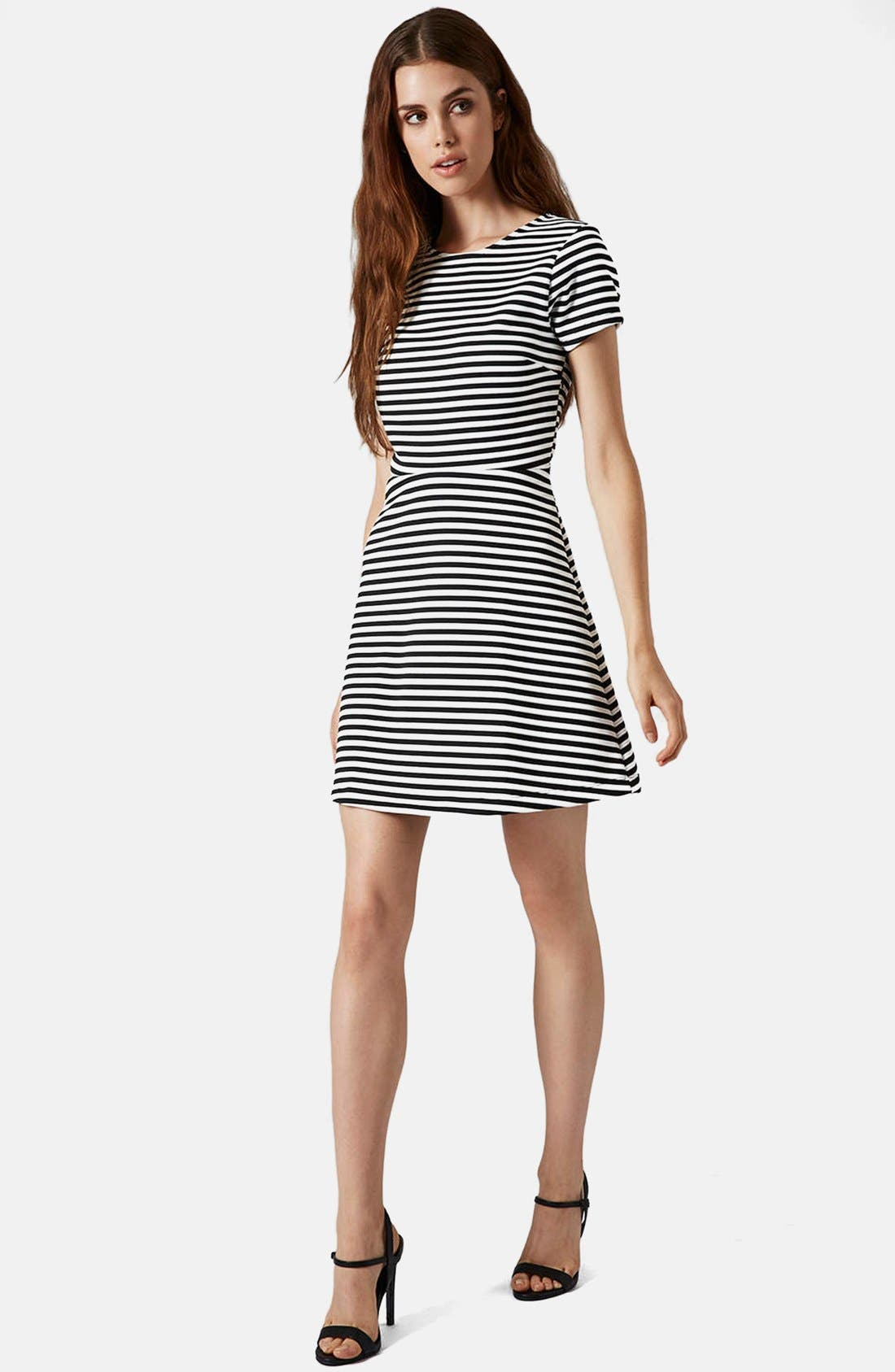 Alternate Image 5  - Topshop Sailor Stripe Bonded Skater Dress