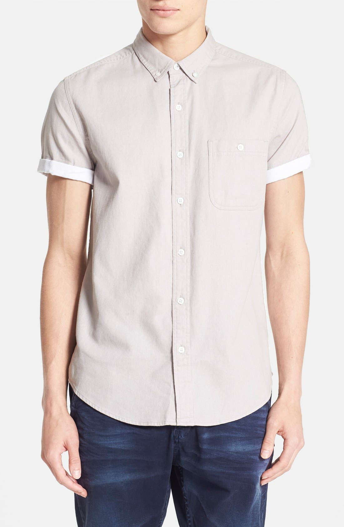 Main Image - Topman Contrast Trim Short Sleeve Cotton Shirt