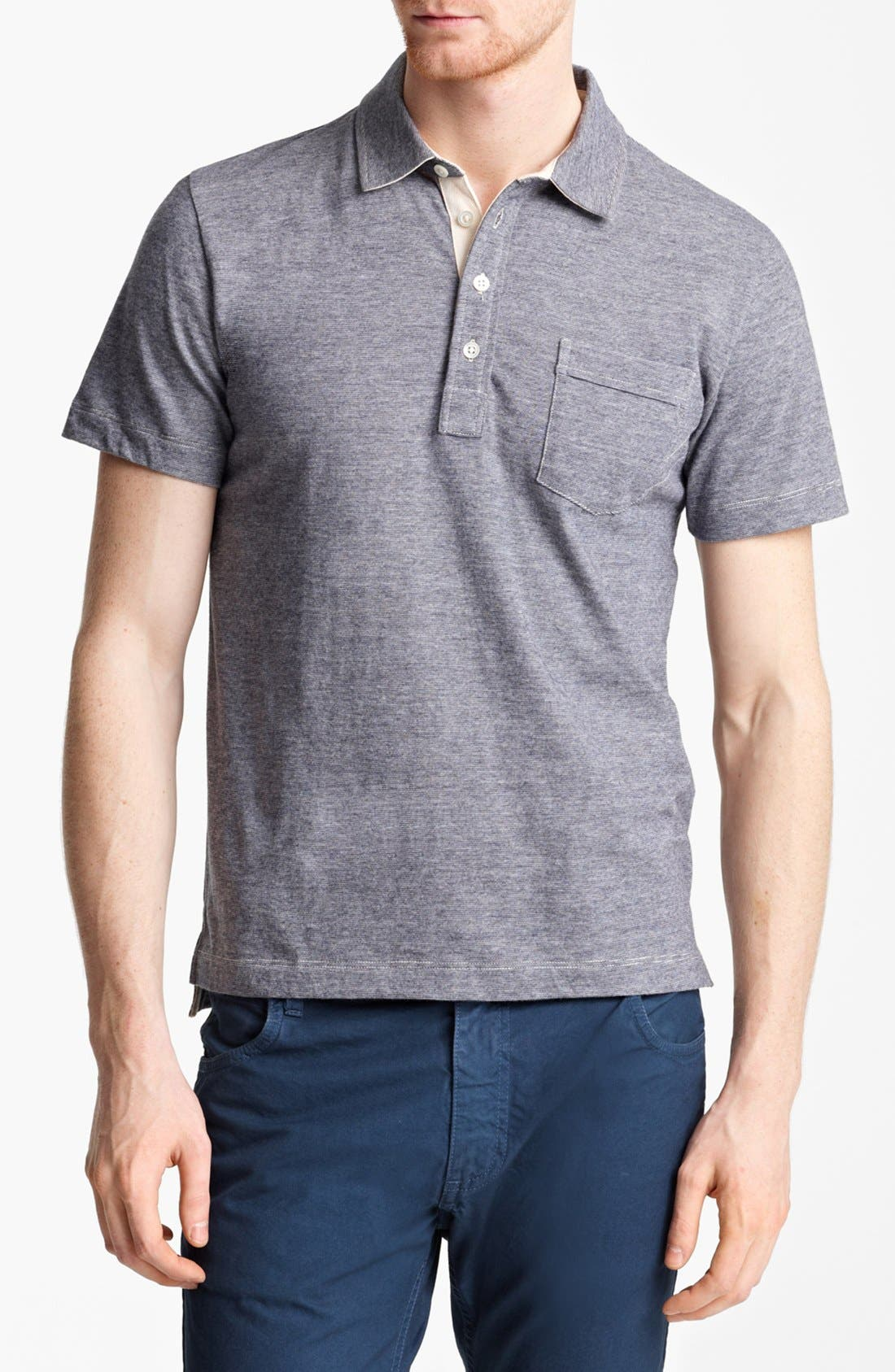 Billy Reid 'Pensacola' Mini Stripe Slim Fit Jersey Polo