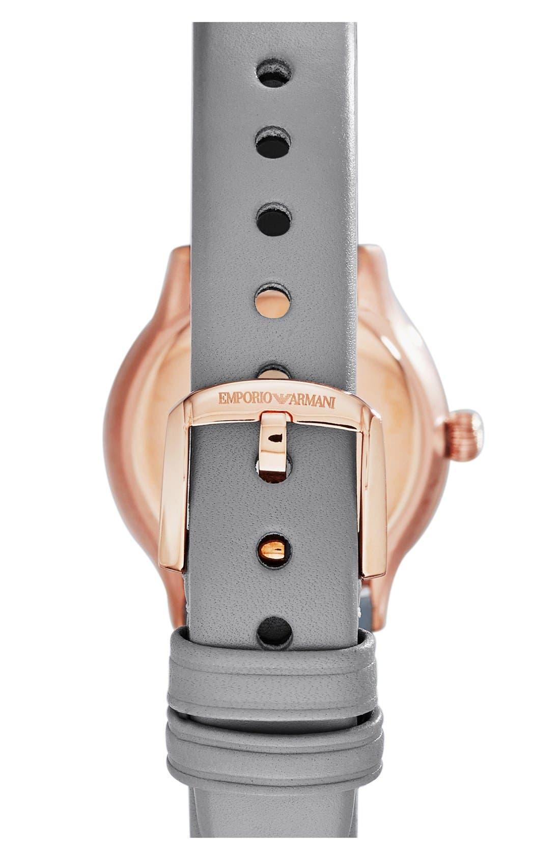 Alternate Image 2  - Emporio Armani Round Leather Strap Watch, 26mm