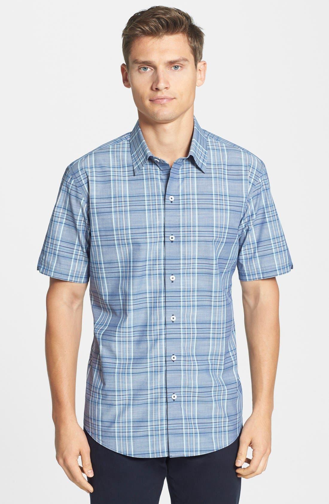Main Image - Zachary Prell 'Deeb' Standard Fit Short Sleeve Windowpane Plaid Sport Shirt