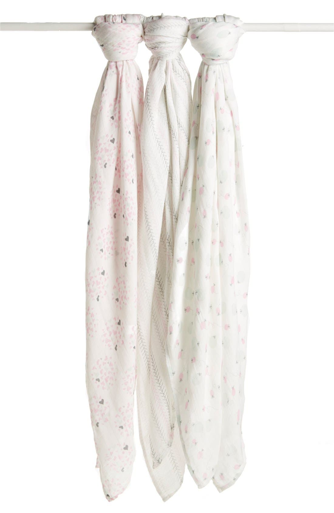 Alternate Image 3  - aden + anais 'Hearts & Fireflies' Swaddling Cloths (3-Pack) (Nordstrom Exclusive)