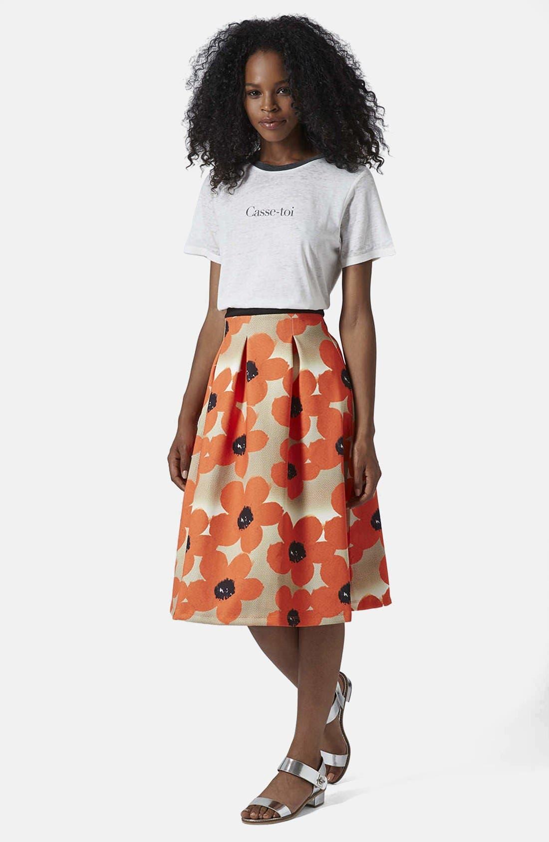 Alternate Image 5  - Topshop 'Sunscratch' Floral Print Scuba Midi Skirt