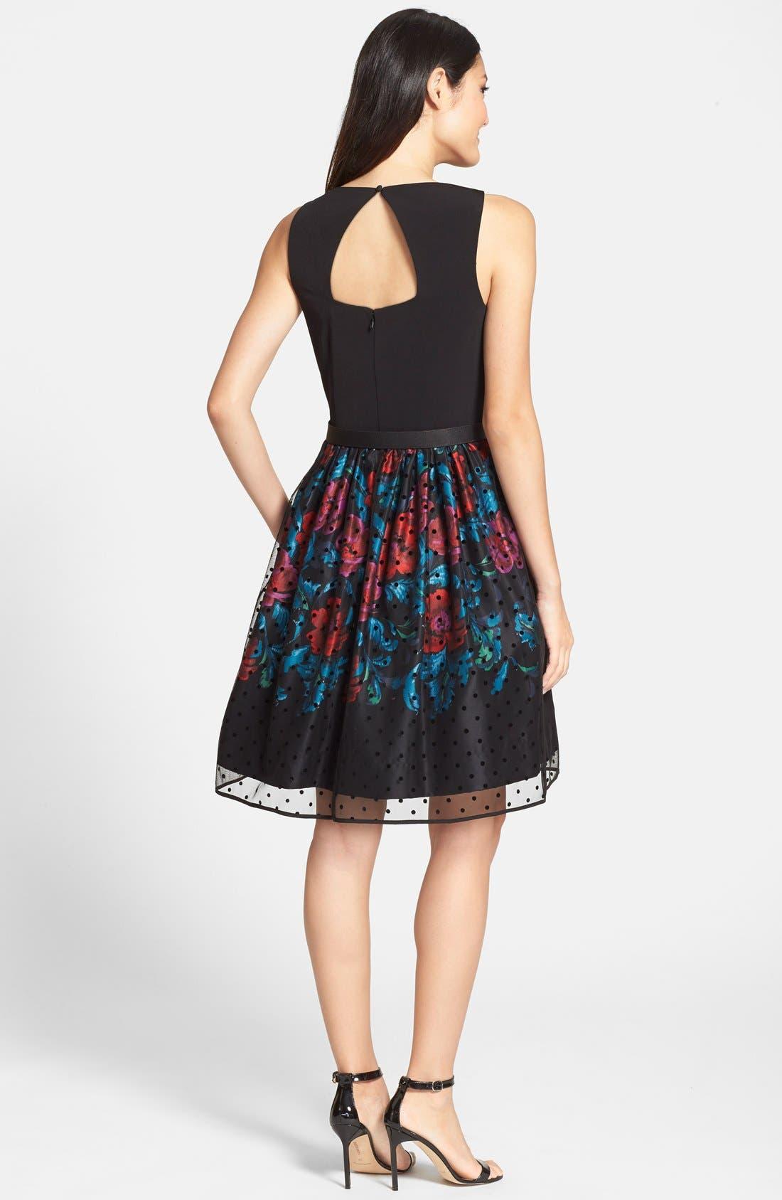 Alternate Image 2  - Eliza J Belted Mixed Media Fit & Flare Dress