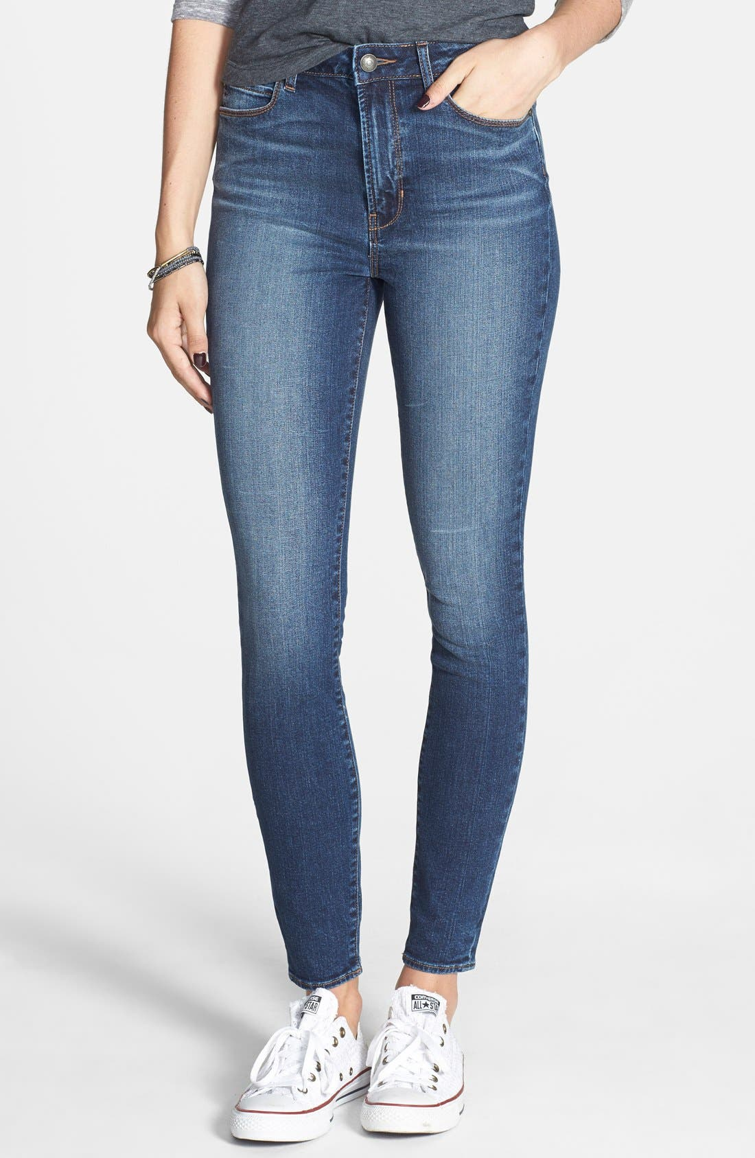 Main Image - Articles of Society 'Halley' High Waist Skinny Jeans (Twilight Wash)