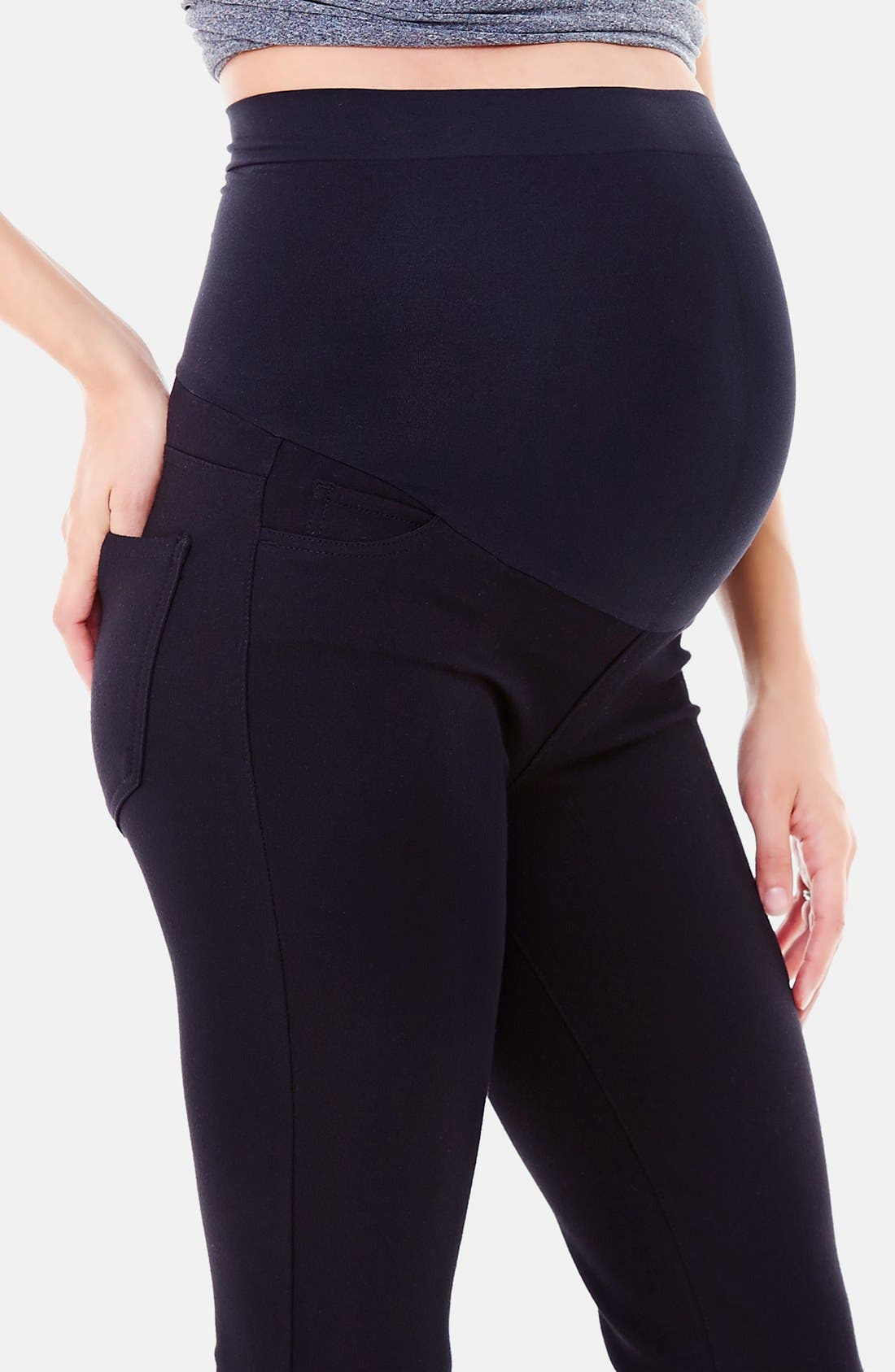 Alternate Image 4  - Ingrid & Isabel® Ponte Knit Skinny Maternity Pants