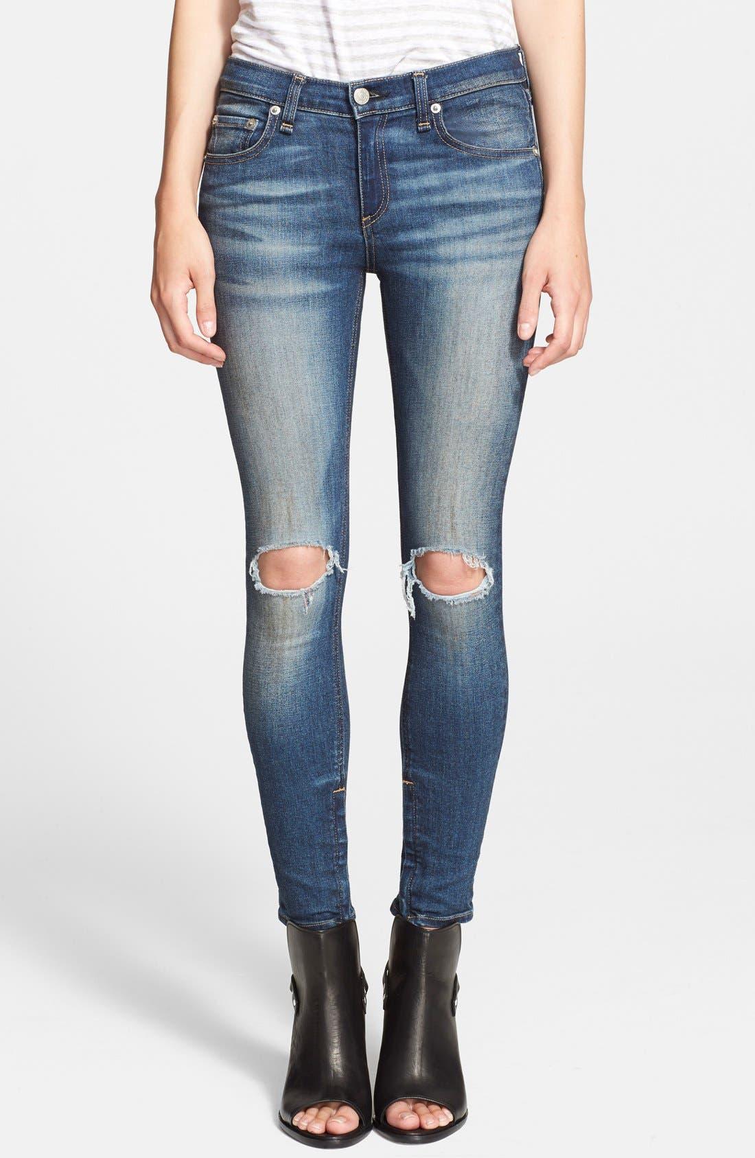 Alternate Image 1 Selected - rag & bone/JEAN Destroyed Skinny Ankle Jeans (Pacifico)