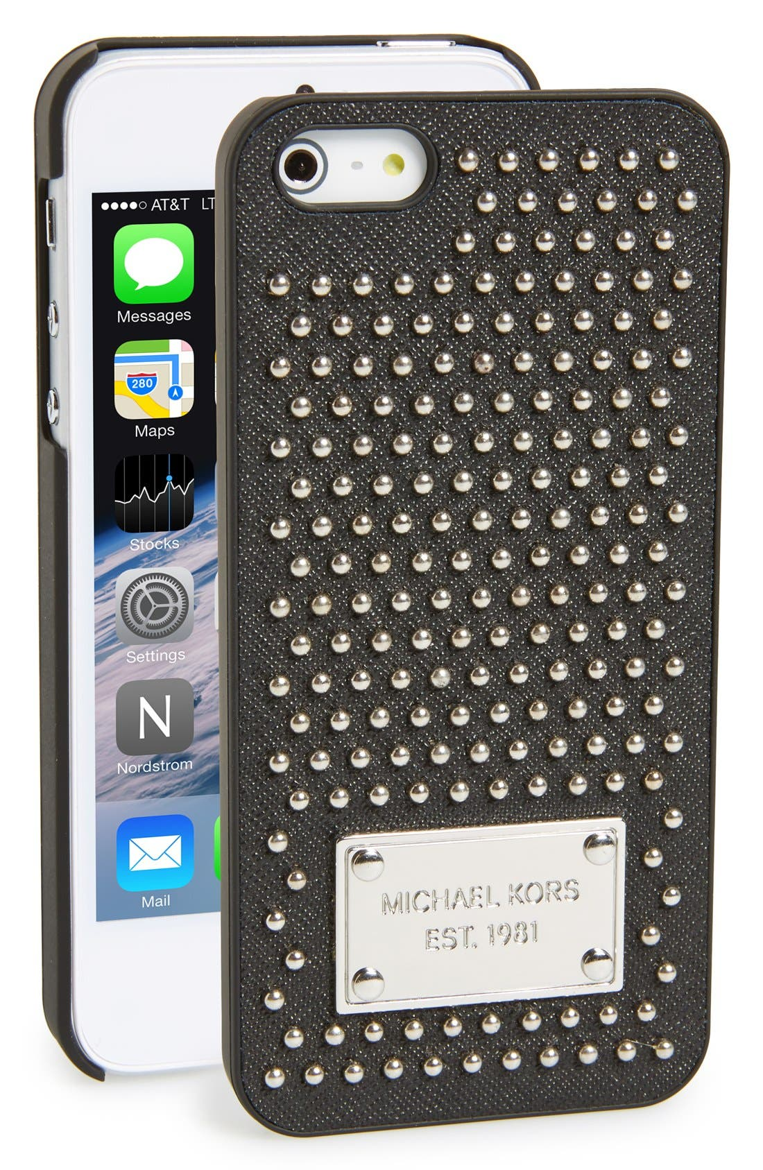 Alternate Image 1 Selected - MICHAEL Michael Kors Studded Leather iPhone 5 & 5s Case
