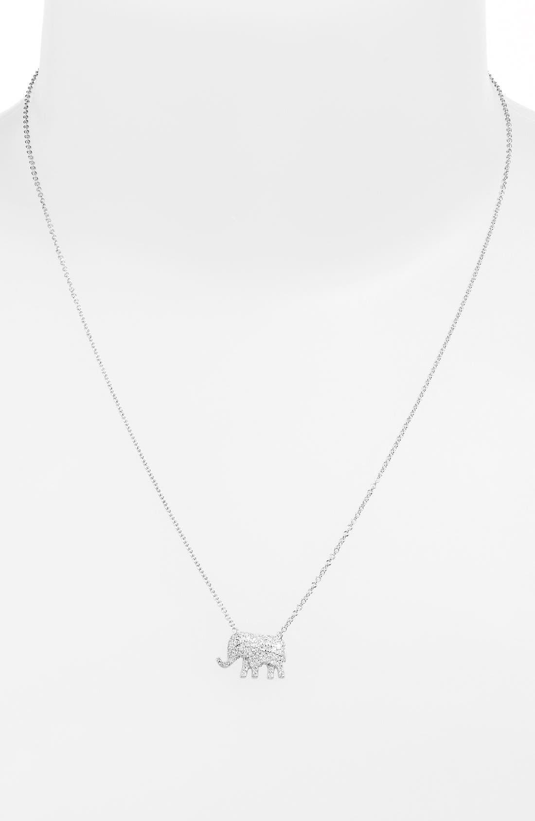 Alternate Image 1 Selected - Sugar Bean Jewelry Pavé Elephant Pendant Necklace