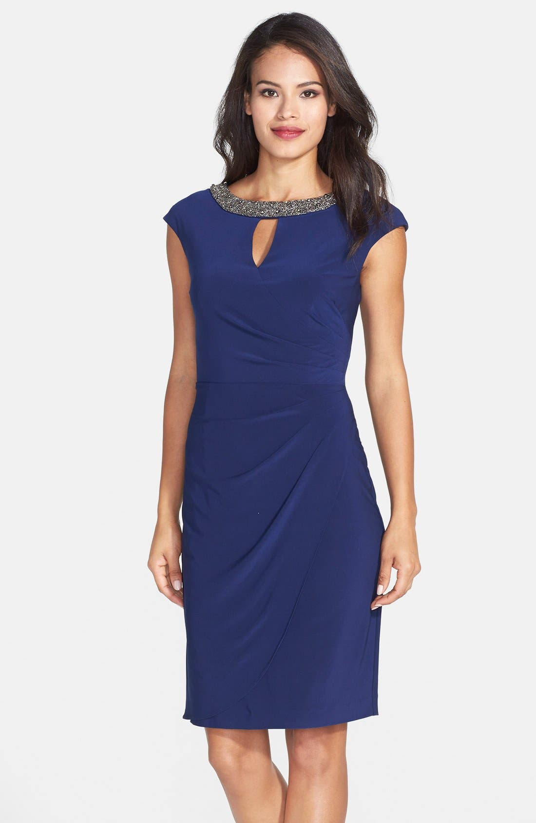 Main Image - Alex Evenings Embellished Neck Jersey Sheath Dress (Regular & Petite)