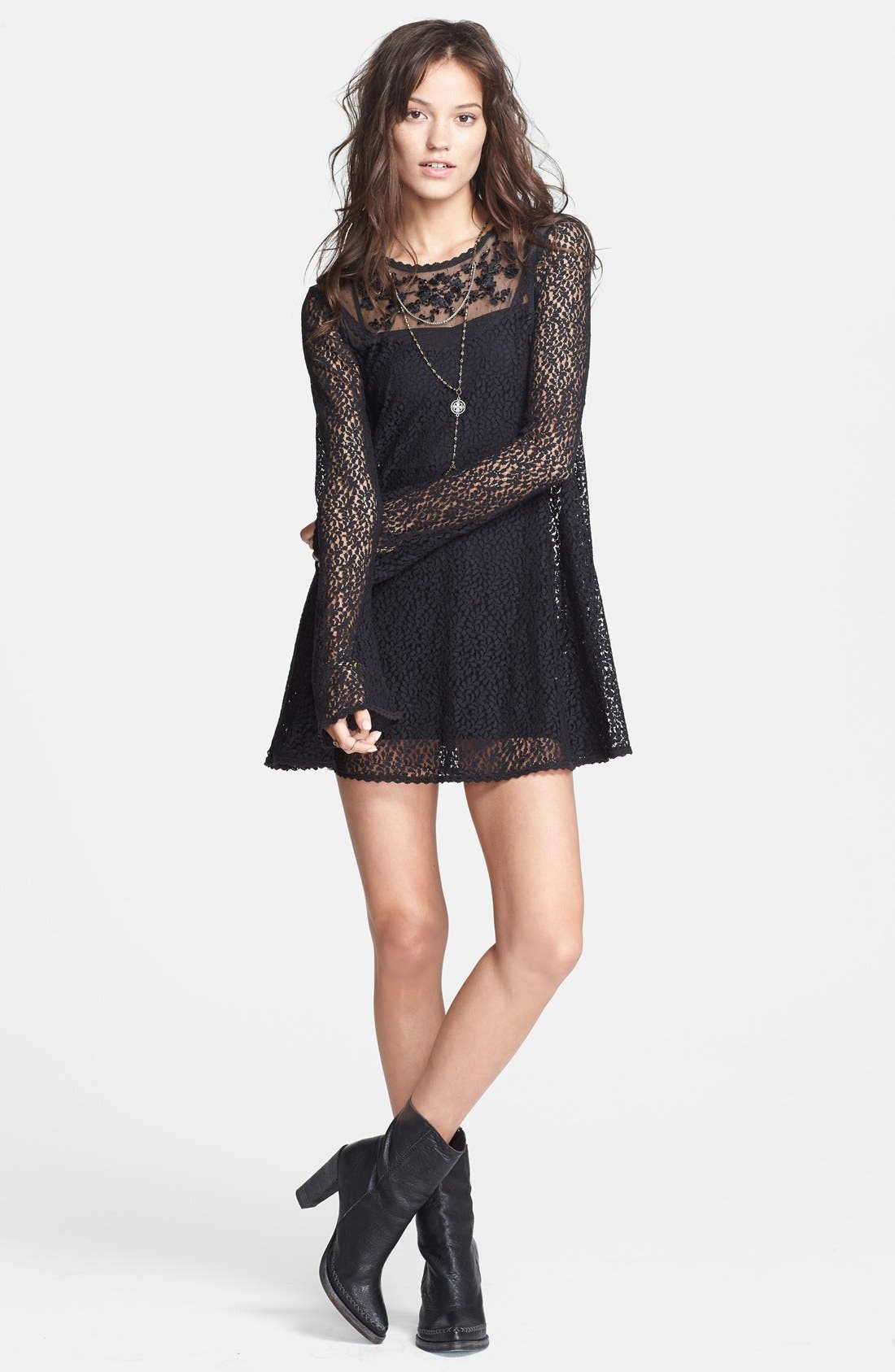 Alternate Image 1 Selected - Free People 'Rodeo Bella' Lace Trapeze Mini Dress