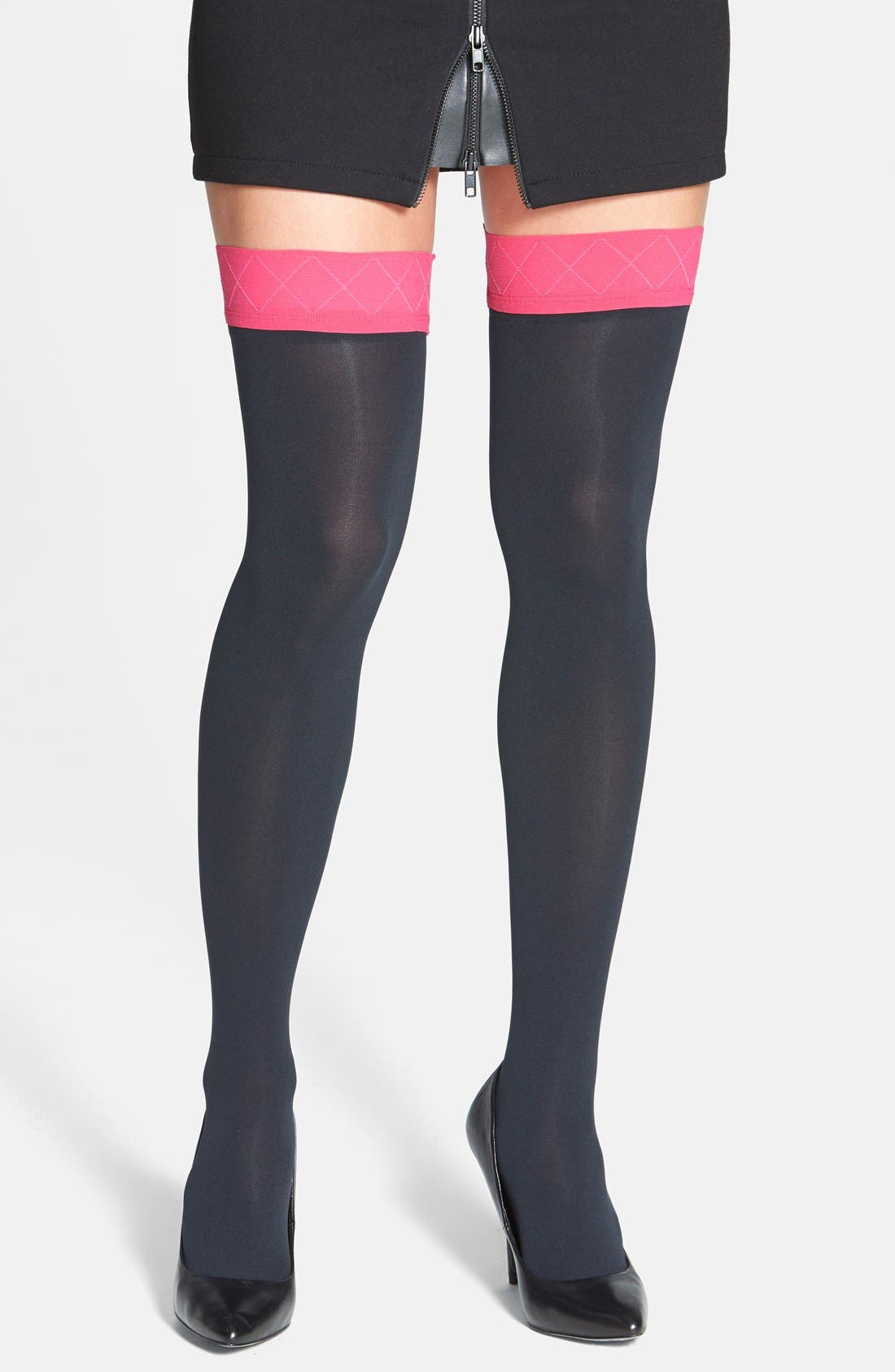 Alternate Image 1 Selected - Pretty Polly Opaque Top Over The Knee Socks