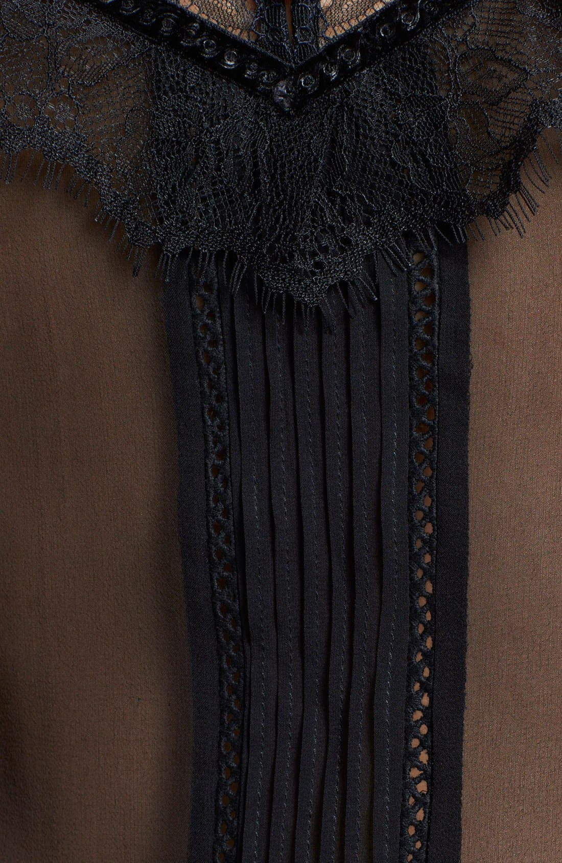 Alternate Image 3  - Alice + Olivia 'Harlow' Lace Trim Stretch Silk Top
