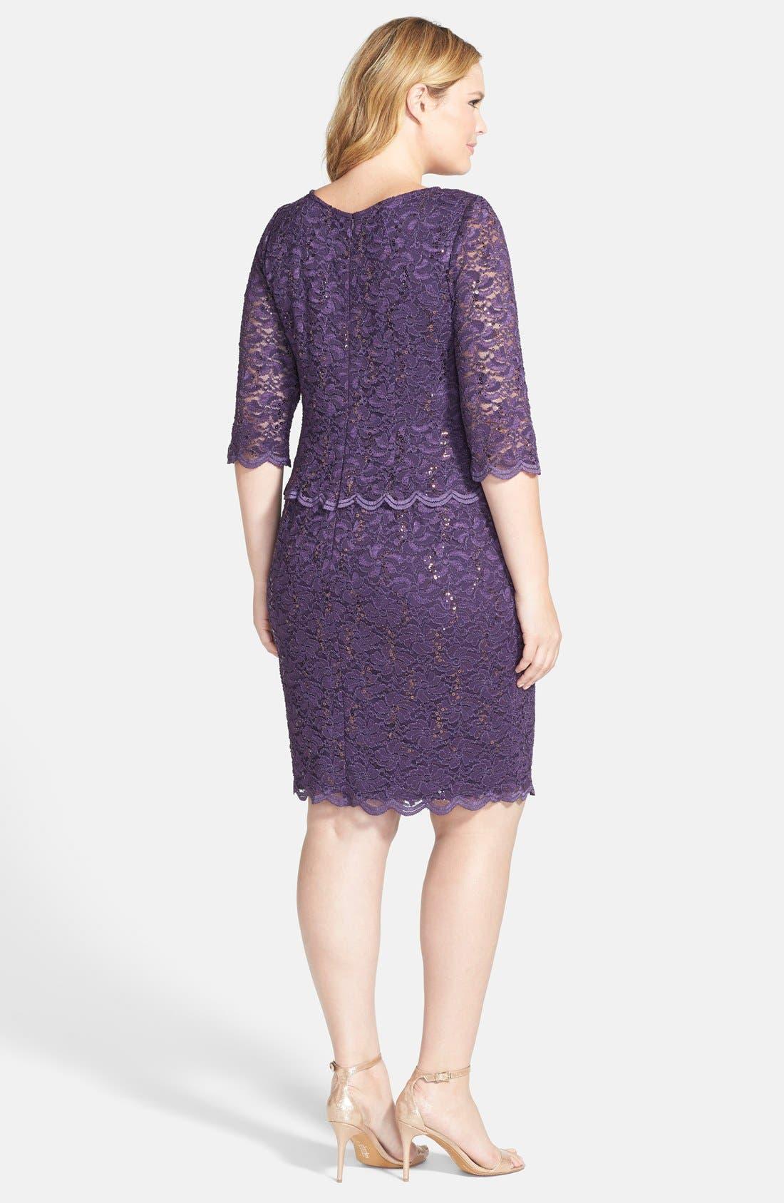 Alternate Image 2  - Alex Evenings Embellished Lace Sheath Dress (Plus Size)