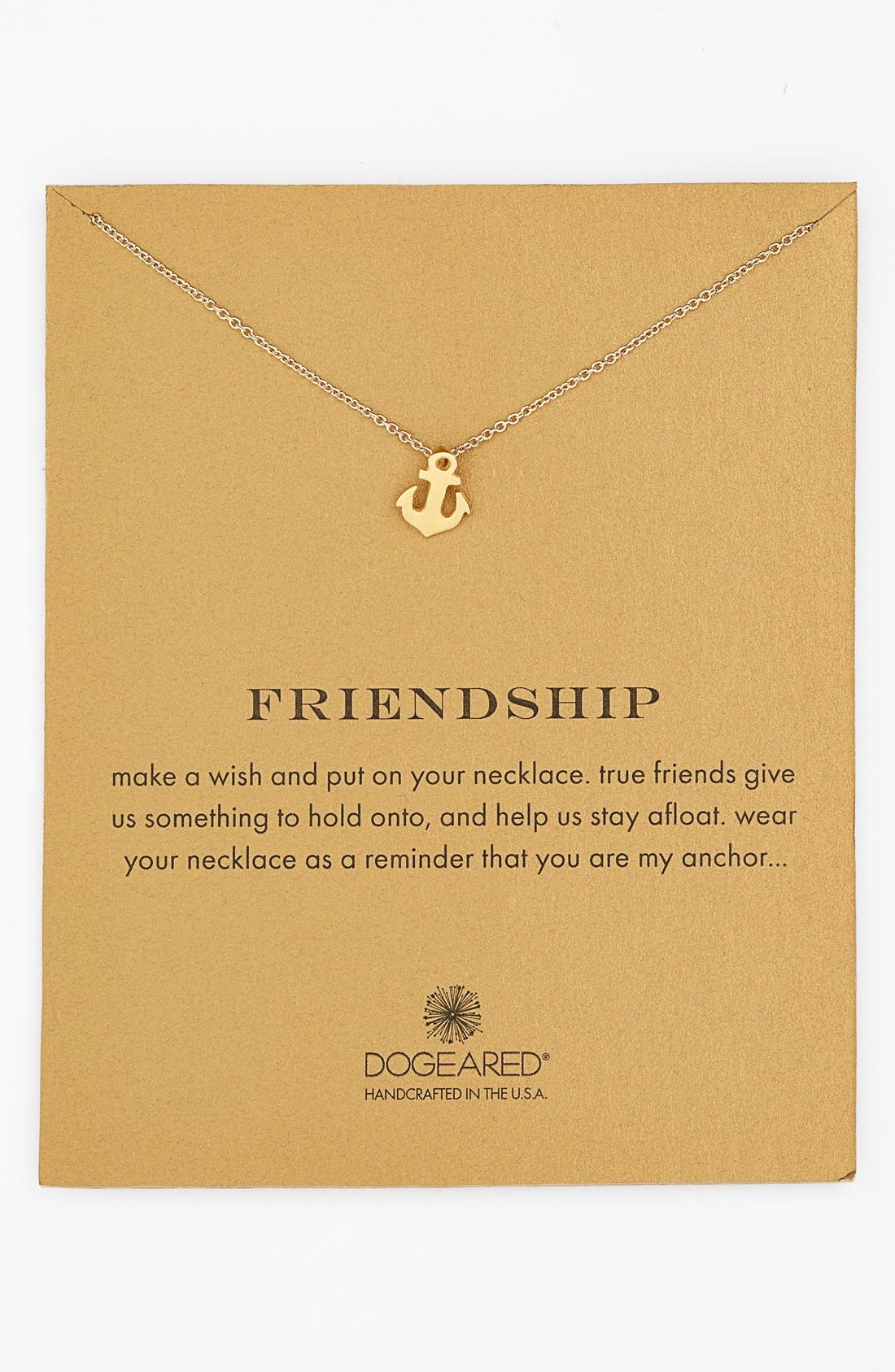 Main Image - Dogeared 'Reminder - Friendship' Anchor Pendant Necklace