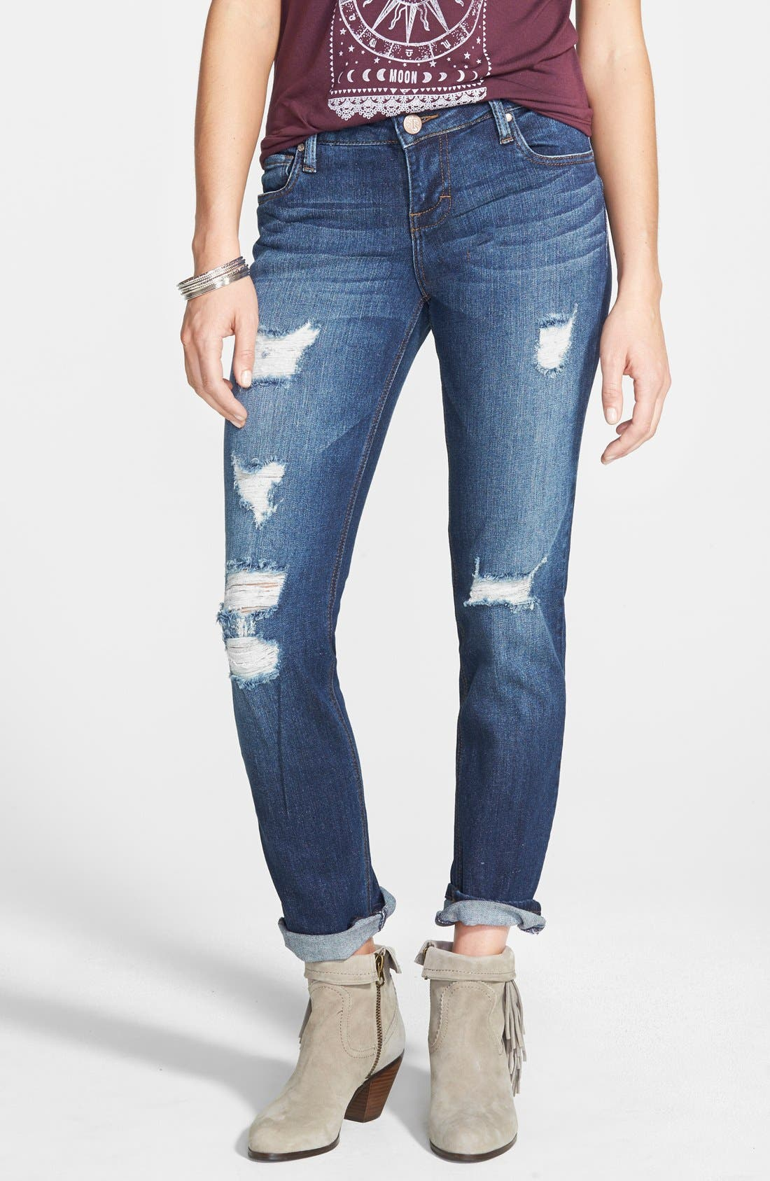 Alternate Image 1 Selected - STS Blue 'Joey' Boyfriend Jeans (Medium Blue Wash)