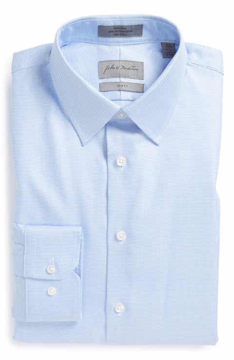 John W. Nordstrom® Trim Fit Non-Iron Houndstooth Dress Shirt