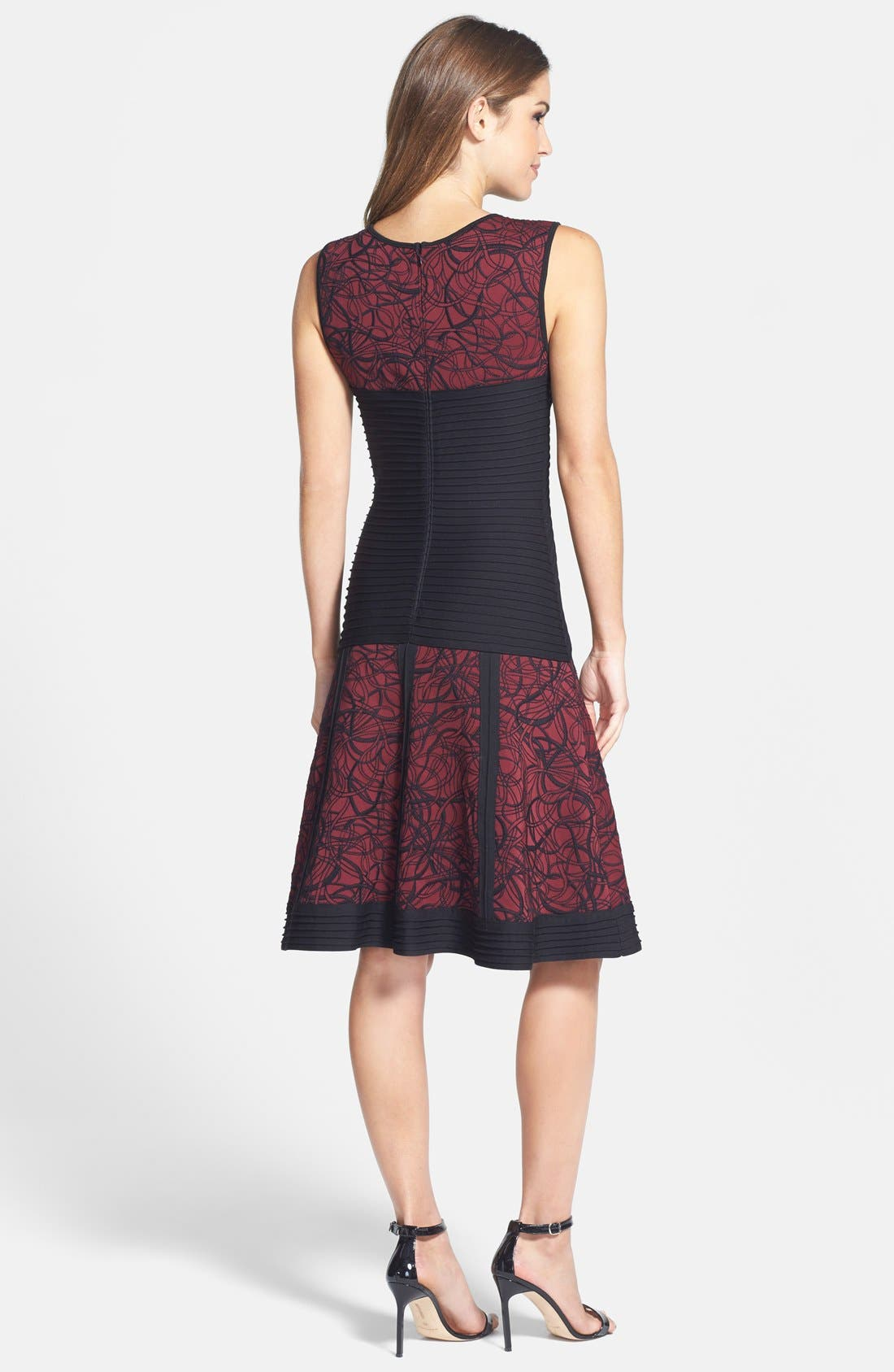 Alternate Image 2  - Tadashi Shoji Pintuck Embroidered Neoprene Fit & Flare Dress