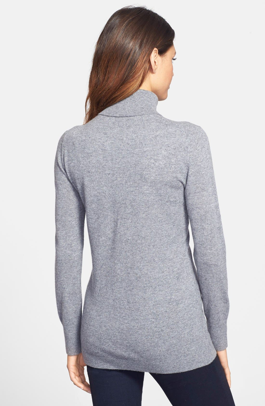 Alternate Image 2  - Nordstrom Collection Long Cashmere Turtleneck Sweater