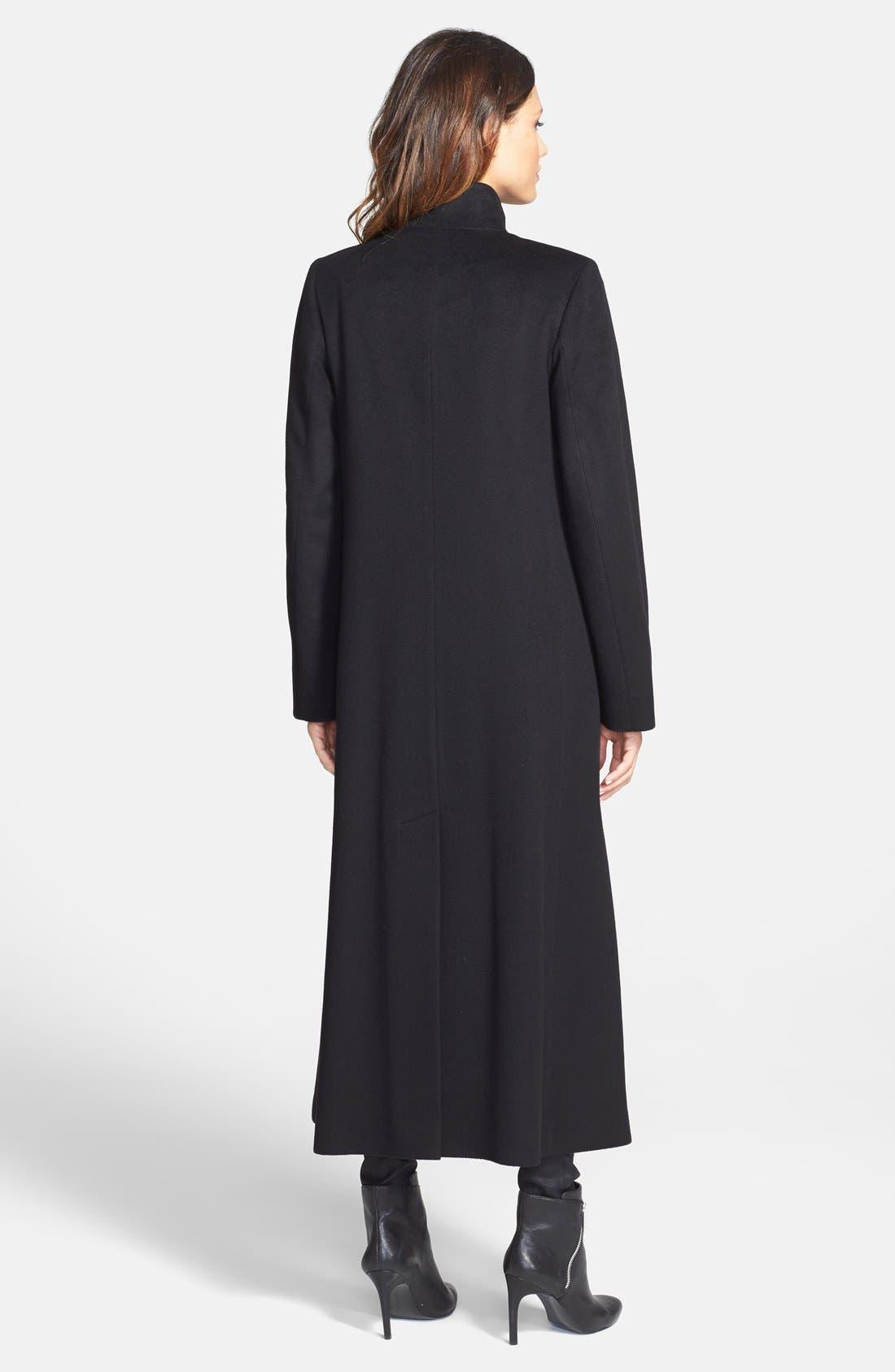 Alternate Image 2  - Fleurette Stand Collar Long Cashmere Coat