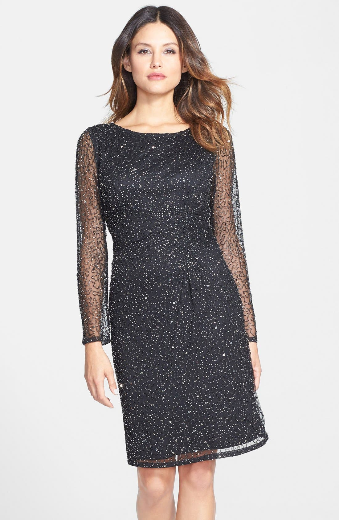 patra beaded mesh sheath dress nordstrom