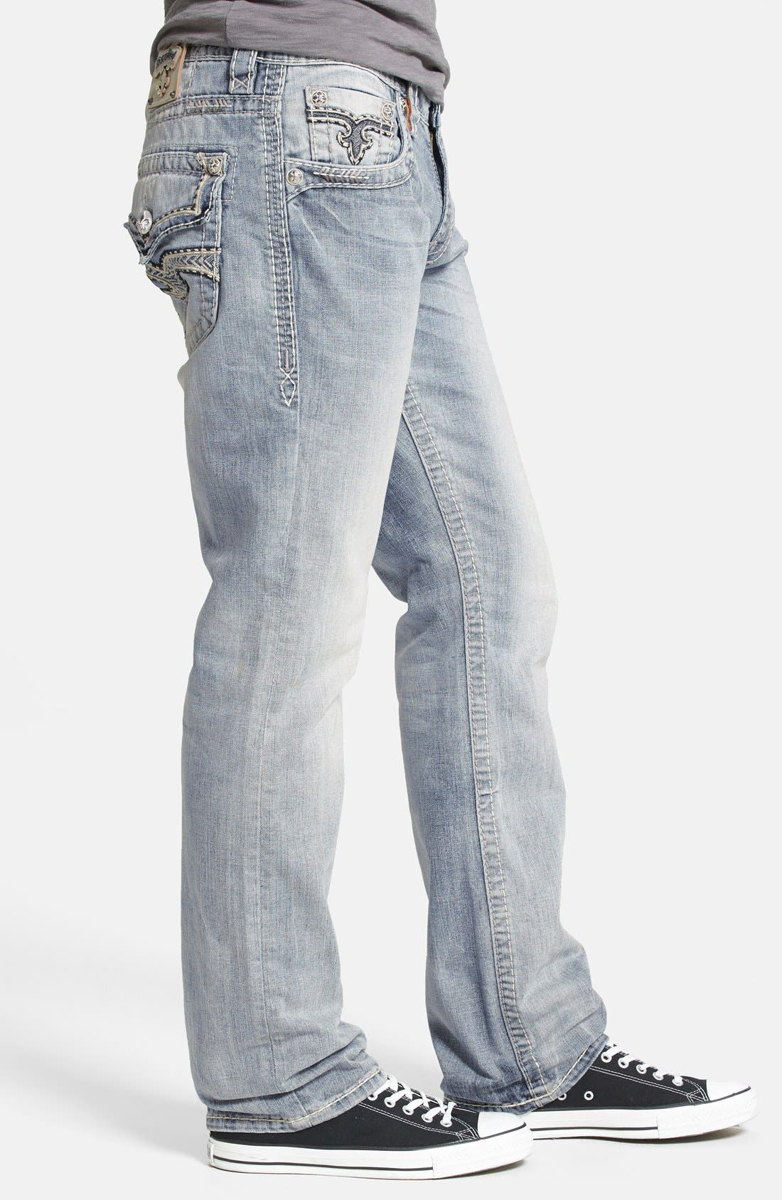 Alternate Image 3  - Rock Revival 'Humfrey' Straight Leg Jeans (Light Blue)