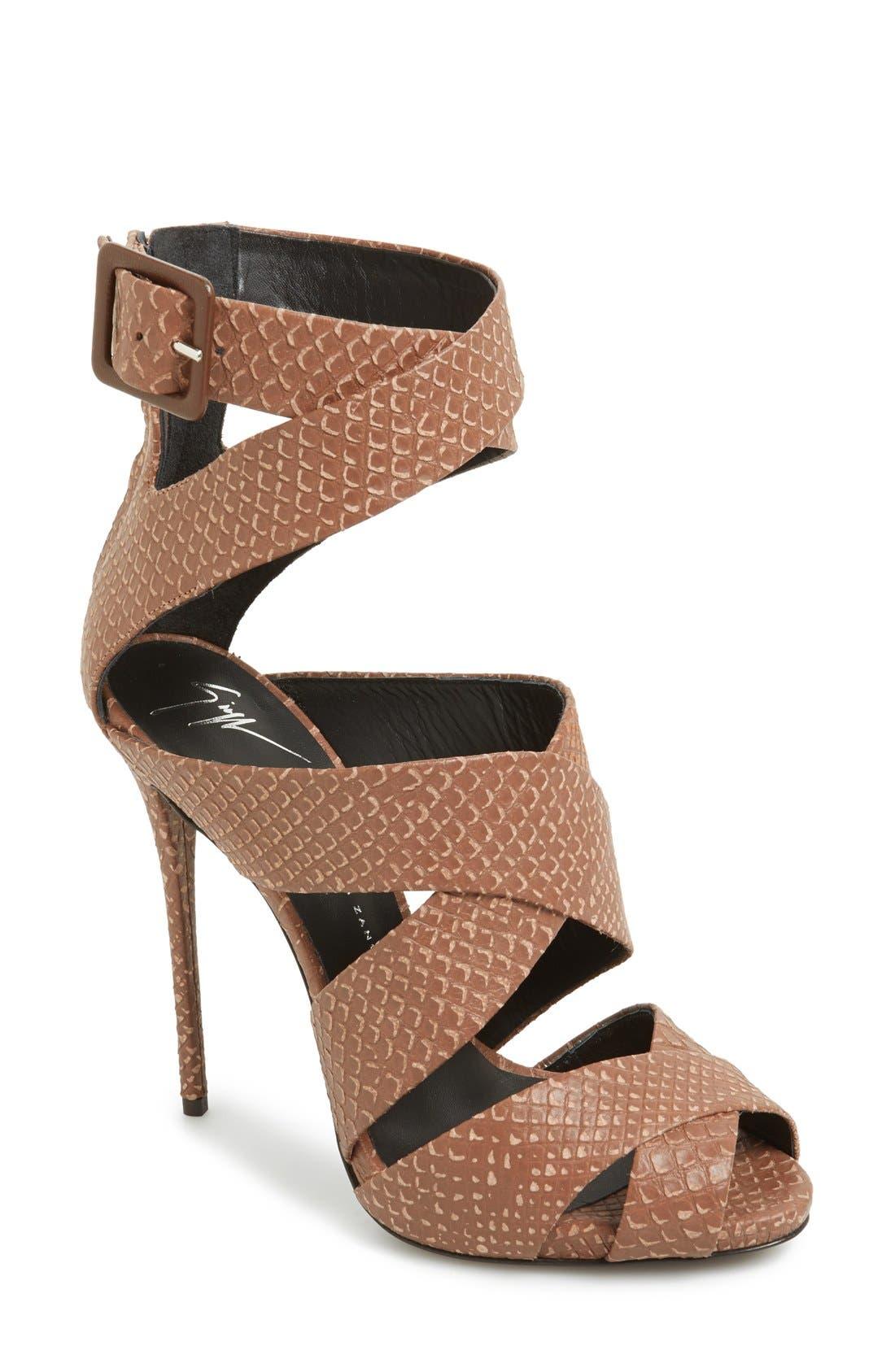 Main Image - Giuseppe Zanotti 'Coline' Snake Embossed Leather Sandal (Women)