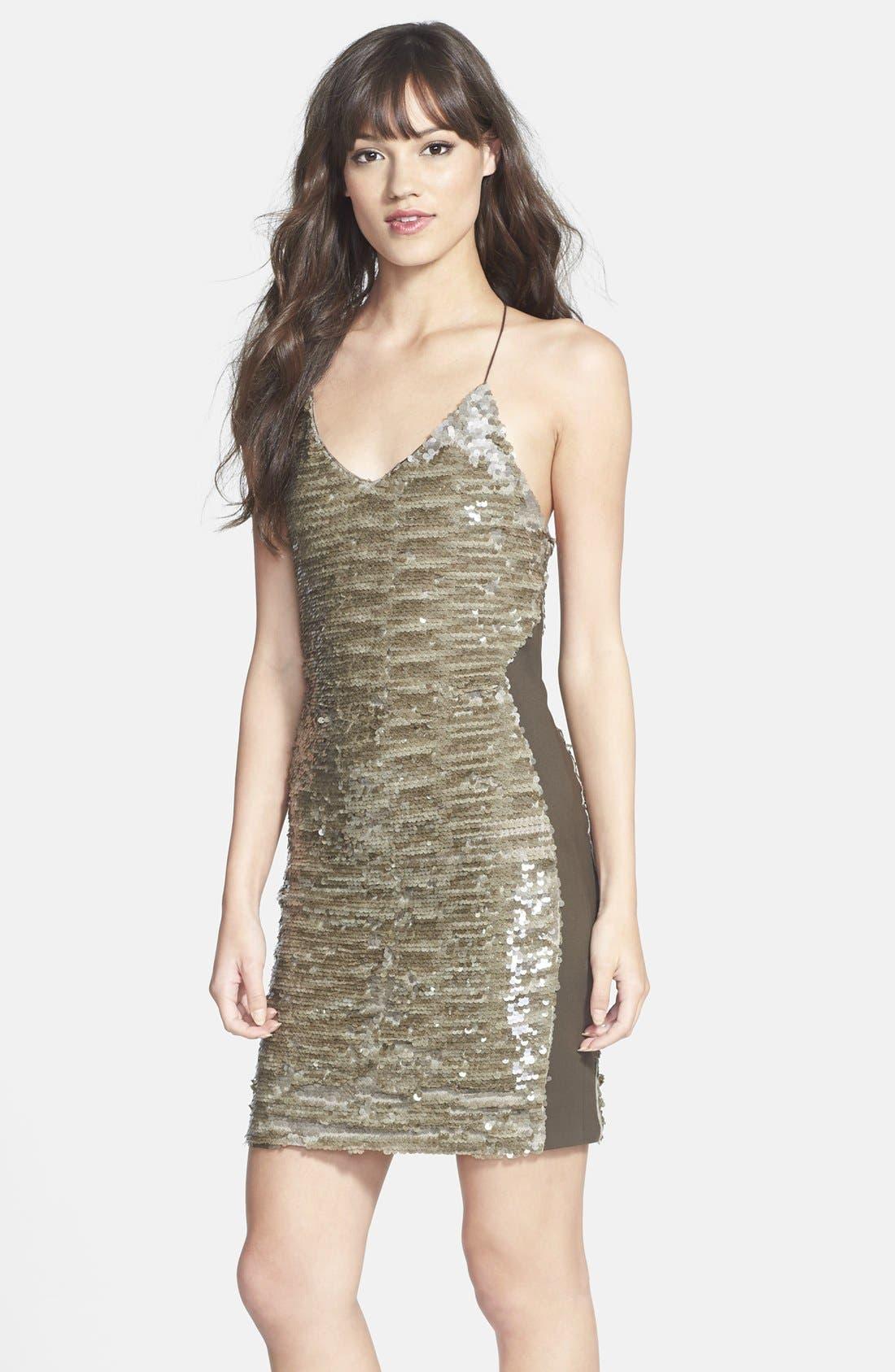 Main Image - GREYLIN 'Alaia' Sequin Racerback Body-Con Dress