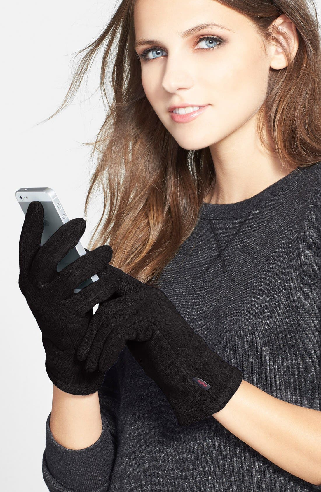 Main Image - Echo 'Touch Milk' Quilted Gloves