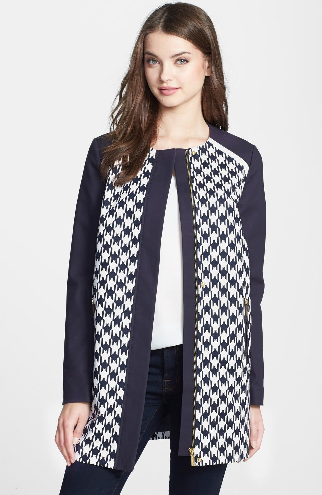 Main Image - MICHAEL Michael Kors Print Block Car Coat