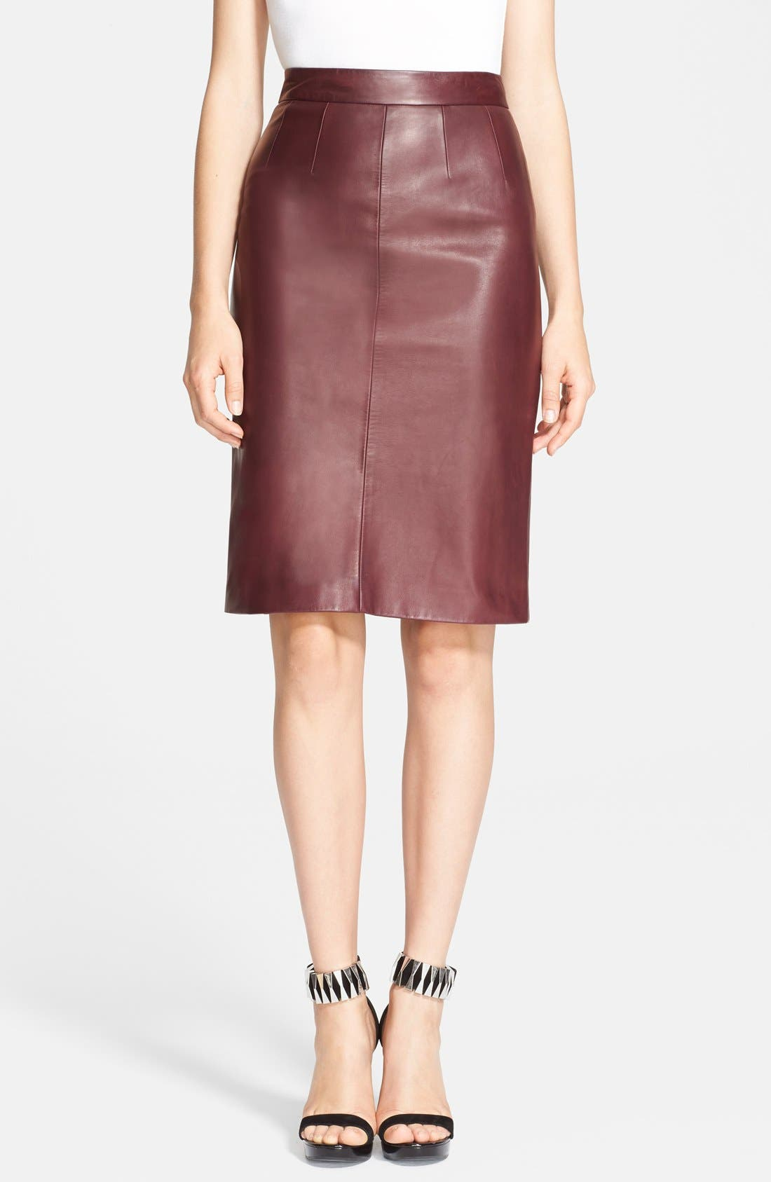 Alternate Image 1 Selected - Alexander McQueen Leather Pencil Skirt