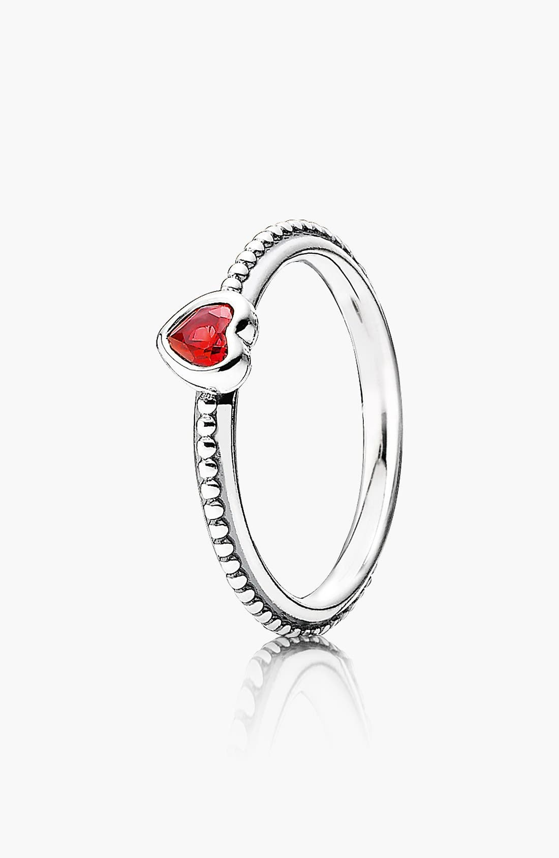 Alternate Image 1 Selected - PANDORA 'One Love' Heart Stone Ring