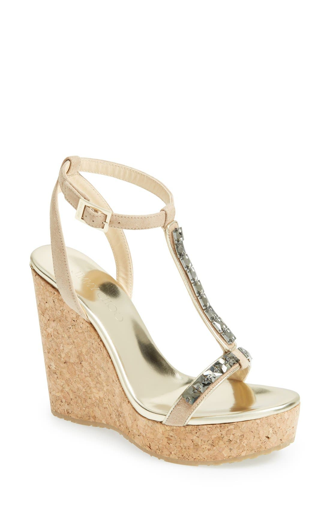 Alternate Image 1 Selected - Jimmy Choo 'Naima' Jeweled T-Strap Wedge Sandal (Women)