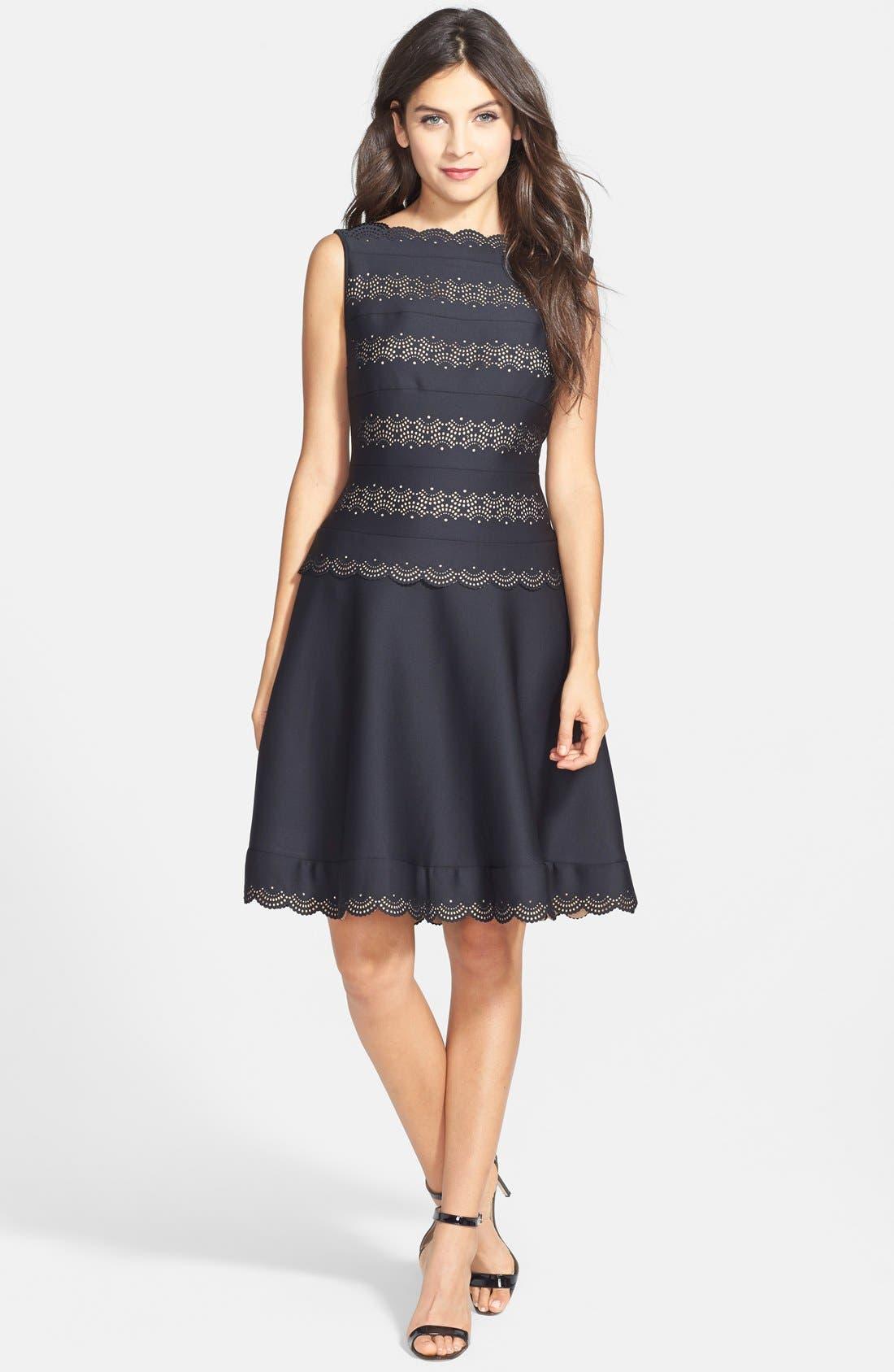 Alternate Image 3  - Tadashi Shoji Laser Cut Neoprene Fit & Flare Dress