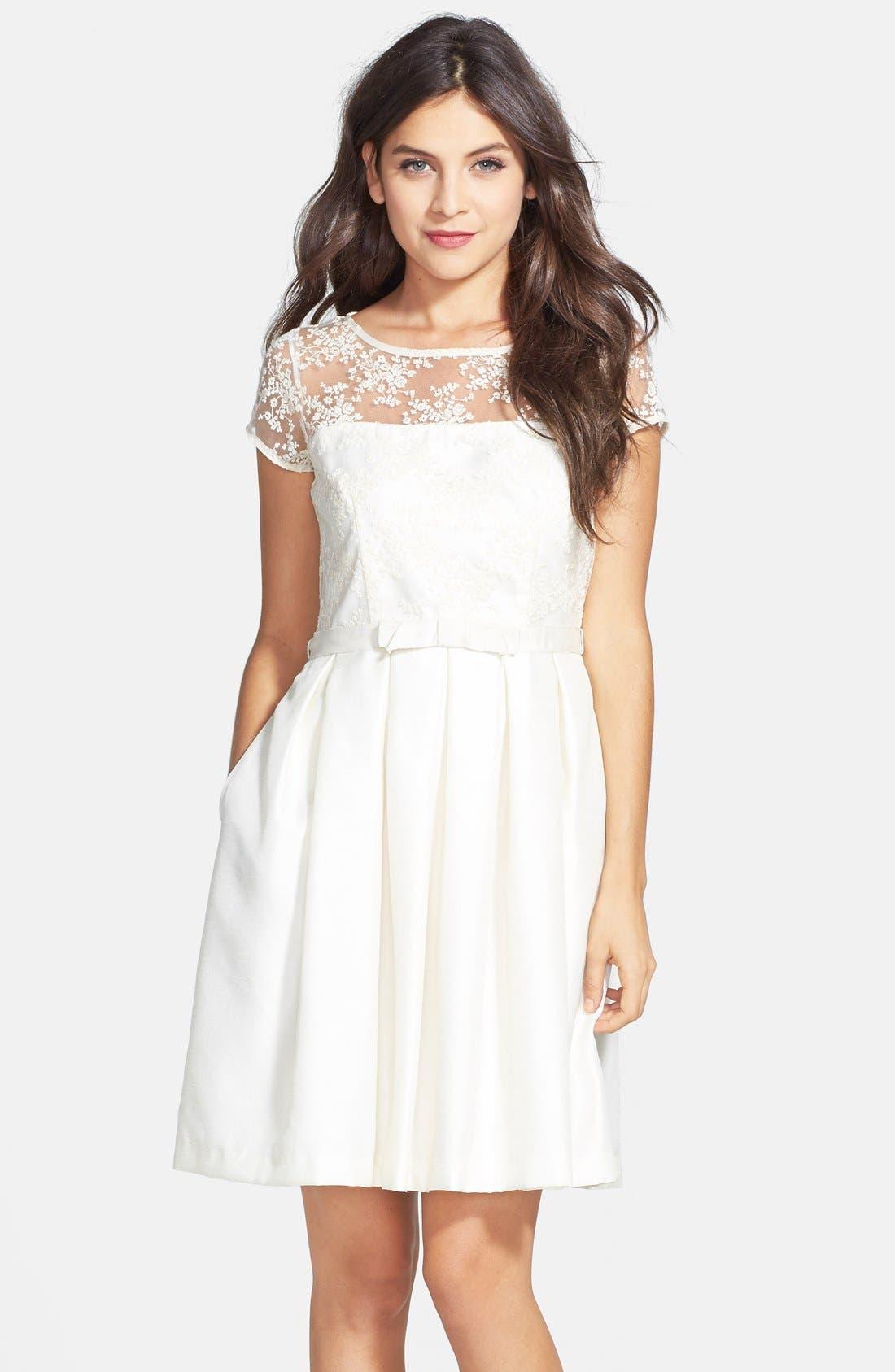 Alternate Image 1 Selected - Taylor Dresses Illusion Yoke Shantung Fit & Flare Dress