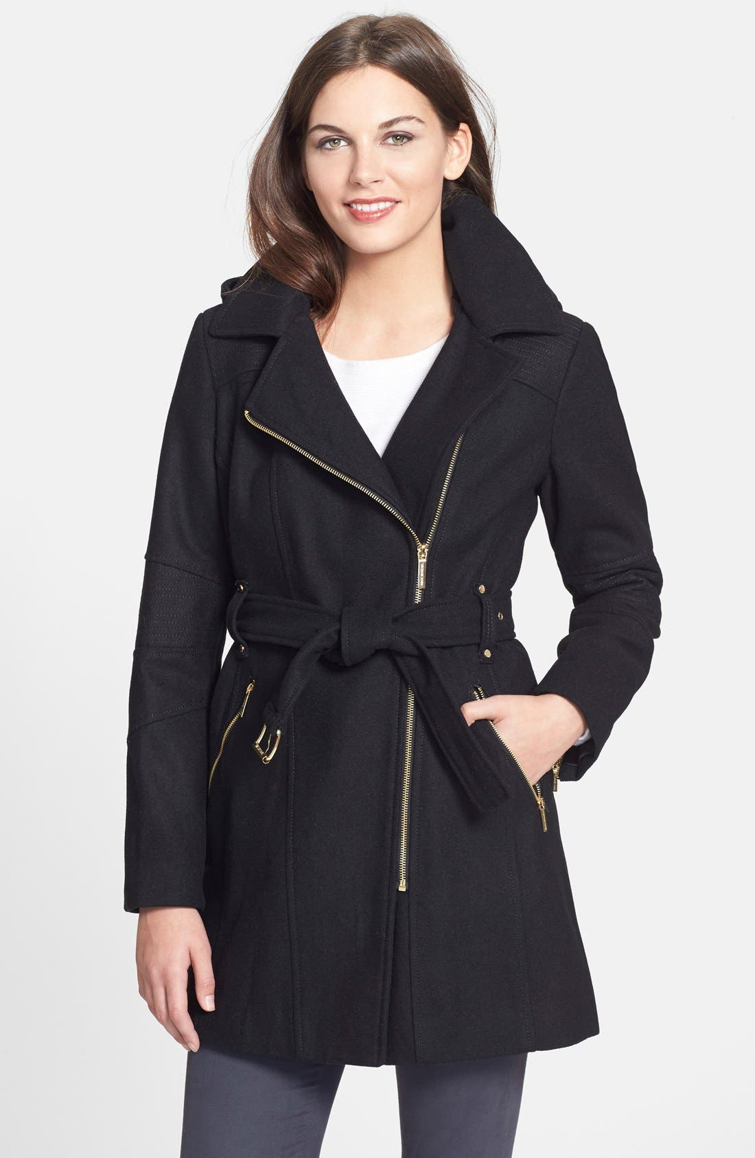 Alternate Image 1 Selected - MICHAEL Michael Kors Belted Hooded Wool Blend Asymmetrical Coat (Online Only)