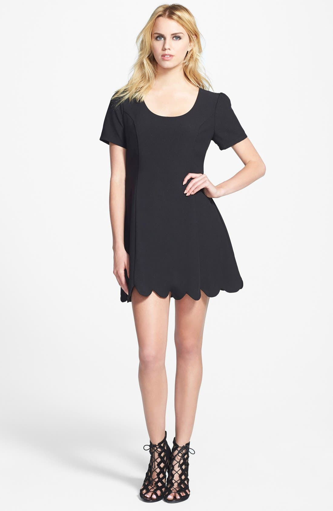 Main Image - June & Hudson Scallop Hem Fit & Flare Dress