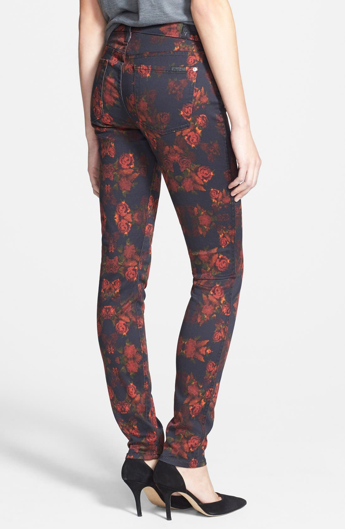 Alternate Image 2  - 7 For All Mankind® 'The Skinny' Stretch Jeans (Rouge Roses)