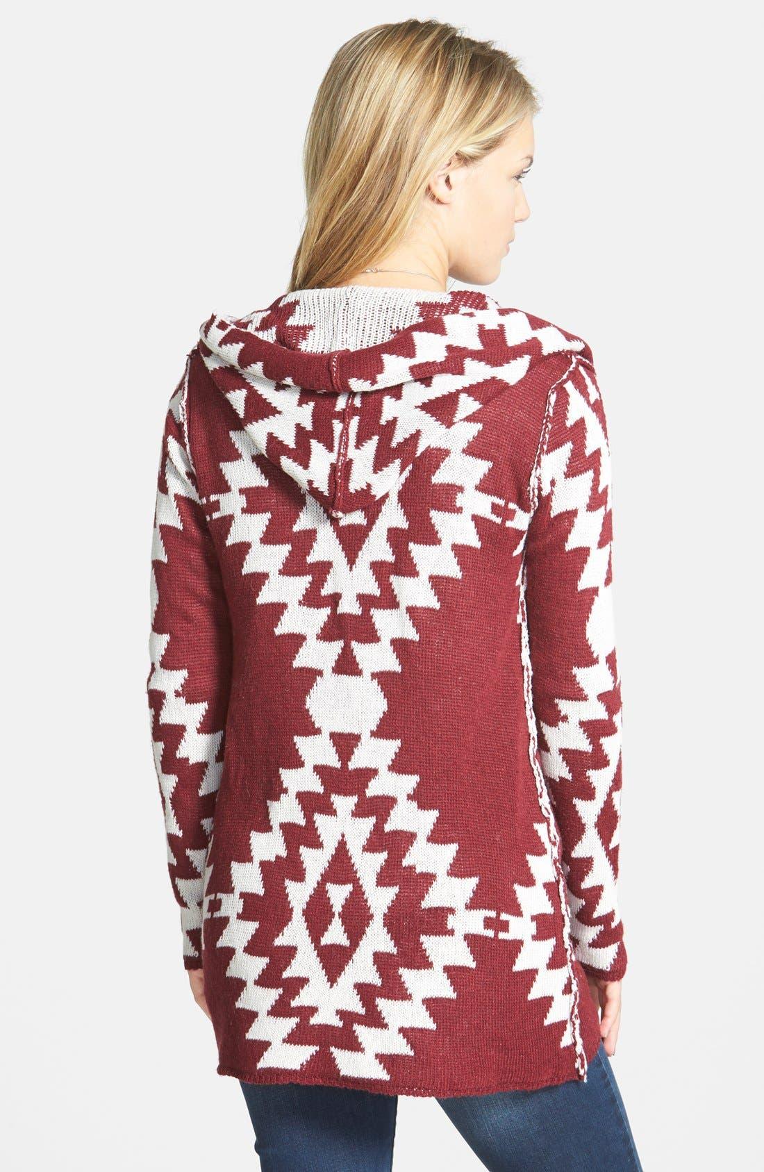 Alternate Image 2  - Woven Heart Geo Pattern Hooded Cardigan (Juniors)