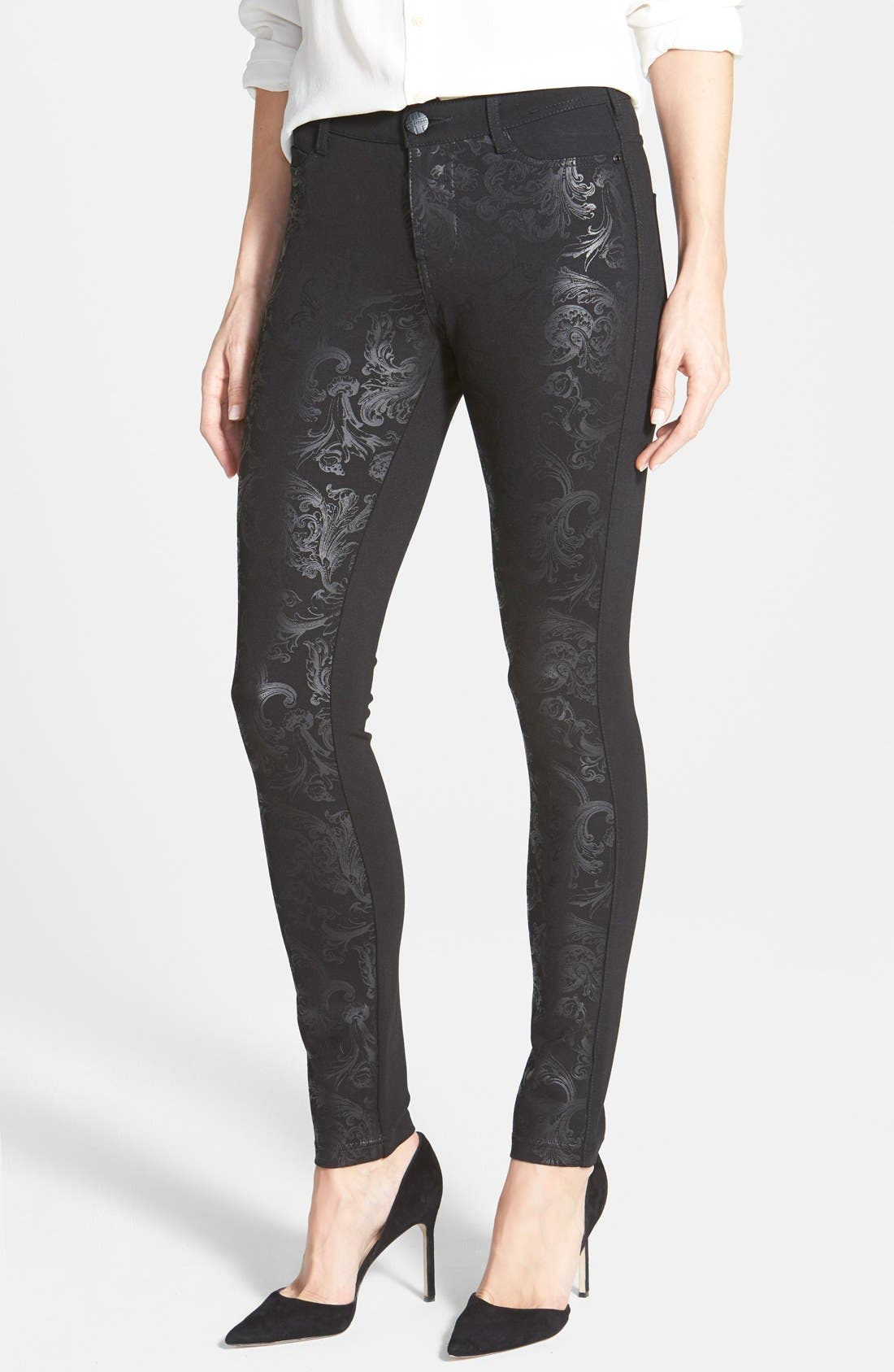 Alternate Image 1 Selected - Liverpool Jeans Company 'Madonna' Gloss Print Stretch Knit Skinny Pants